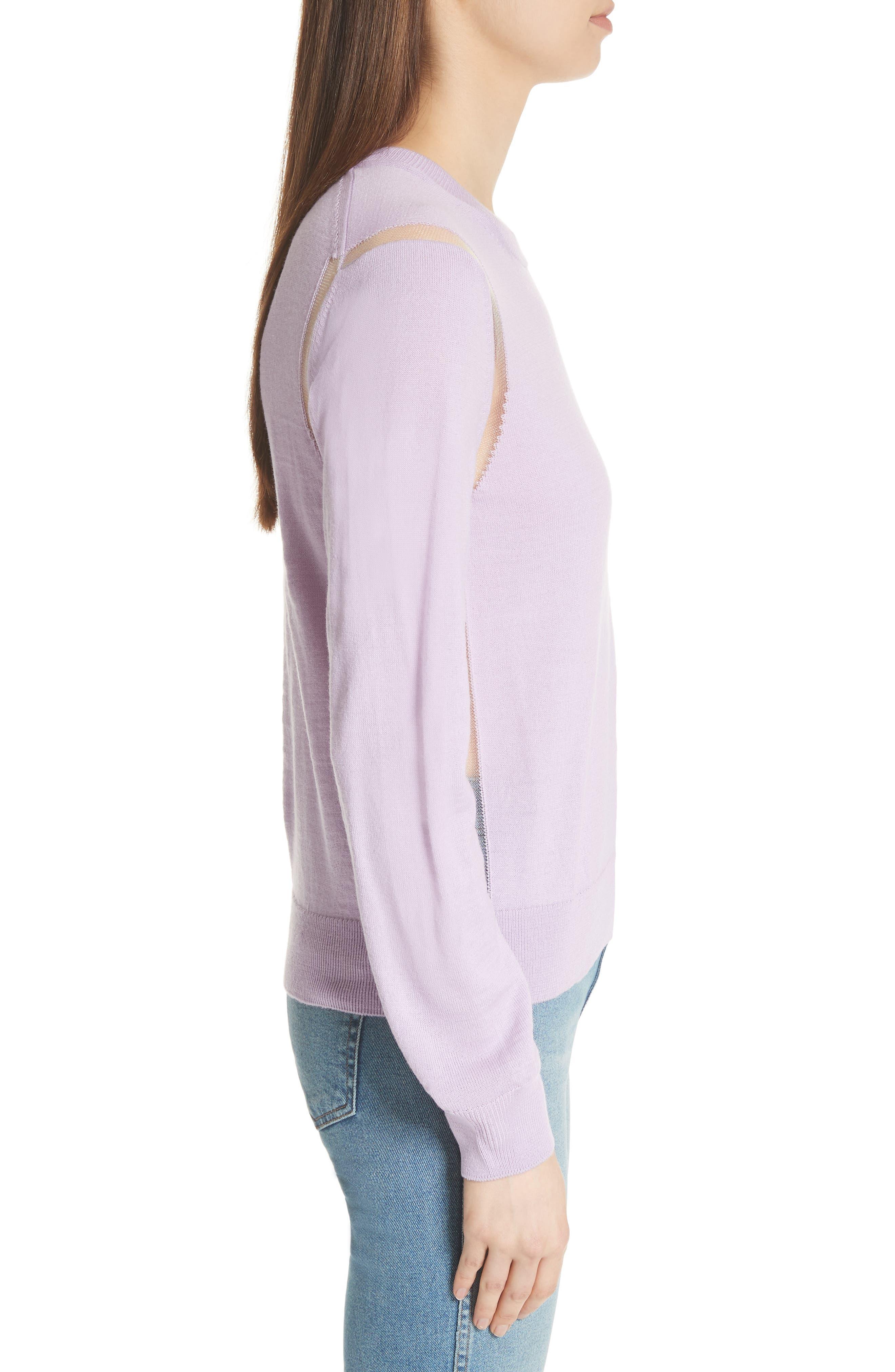 Sheer Panel Crewneck Sweater,                             Alternate thumbnail 3, color,                             Purple