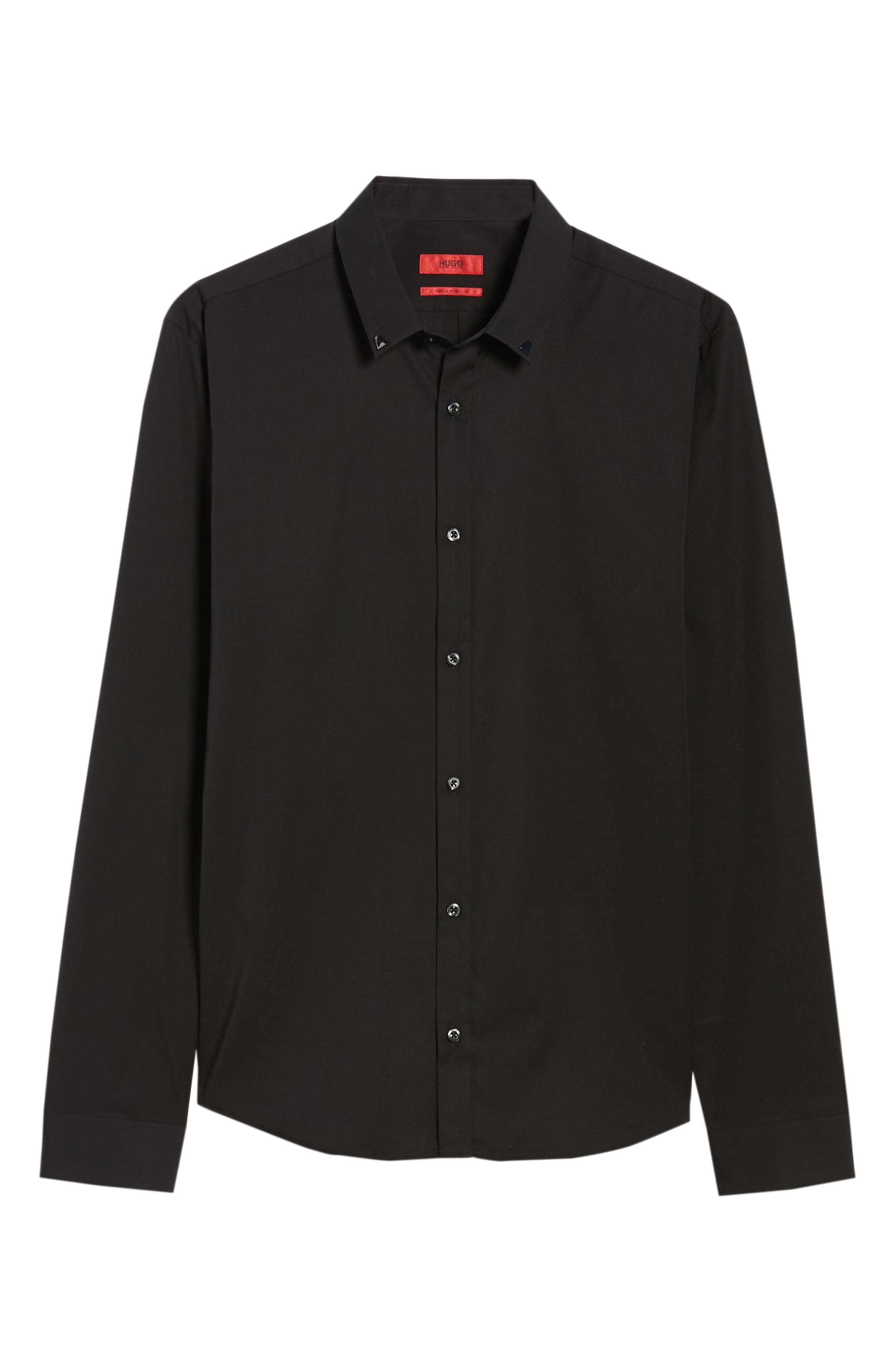 Ero Slim Fit Solid Cotton Sport Shirt,                             Alternate thumbnail 6, color,                             Black