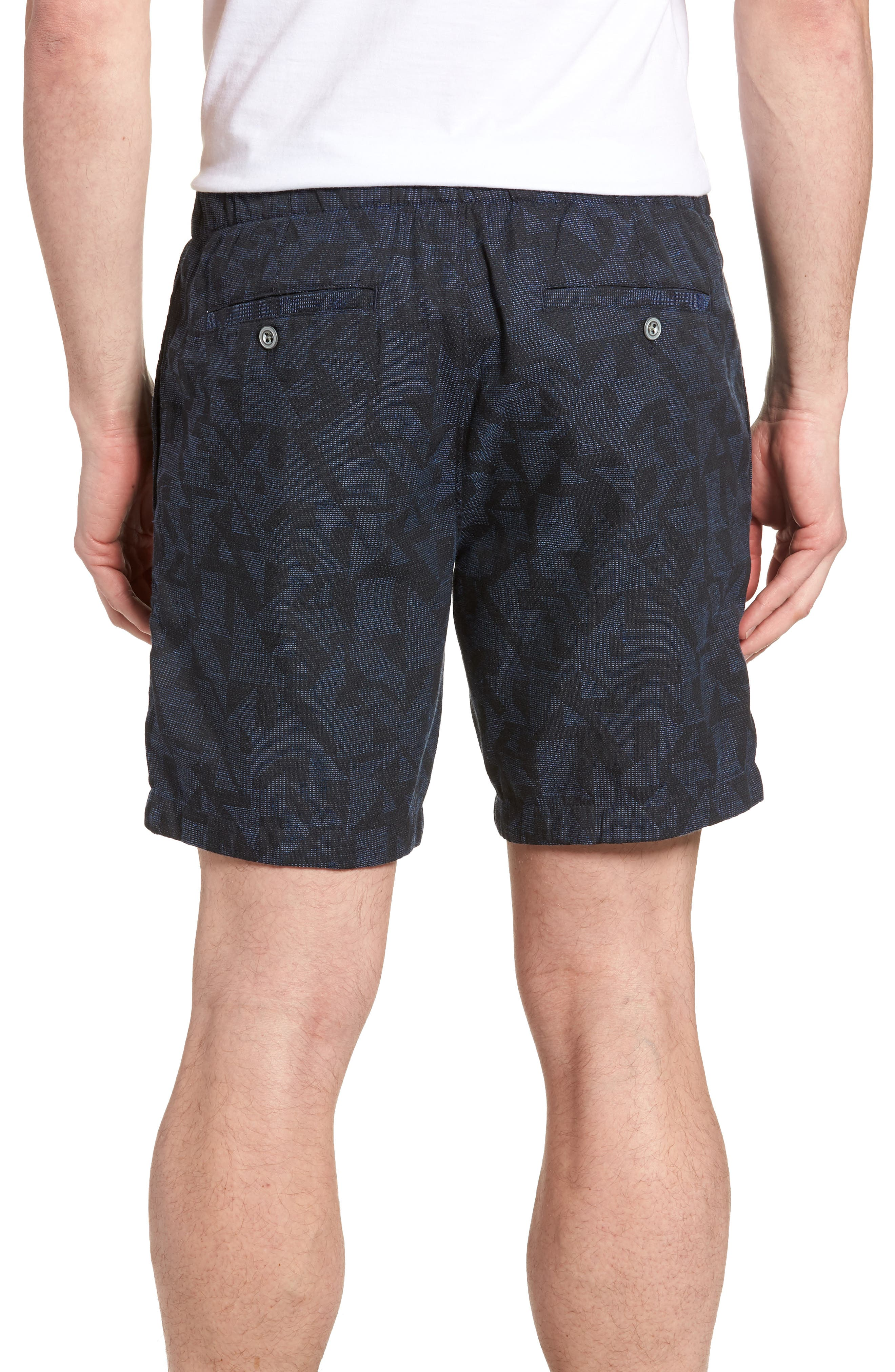 Print Beach Shorts,                             Alternate thumbnail 2, color,                             Navy Triangle Jacquard