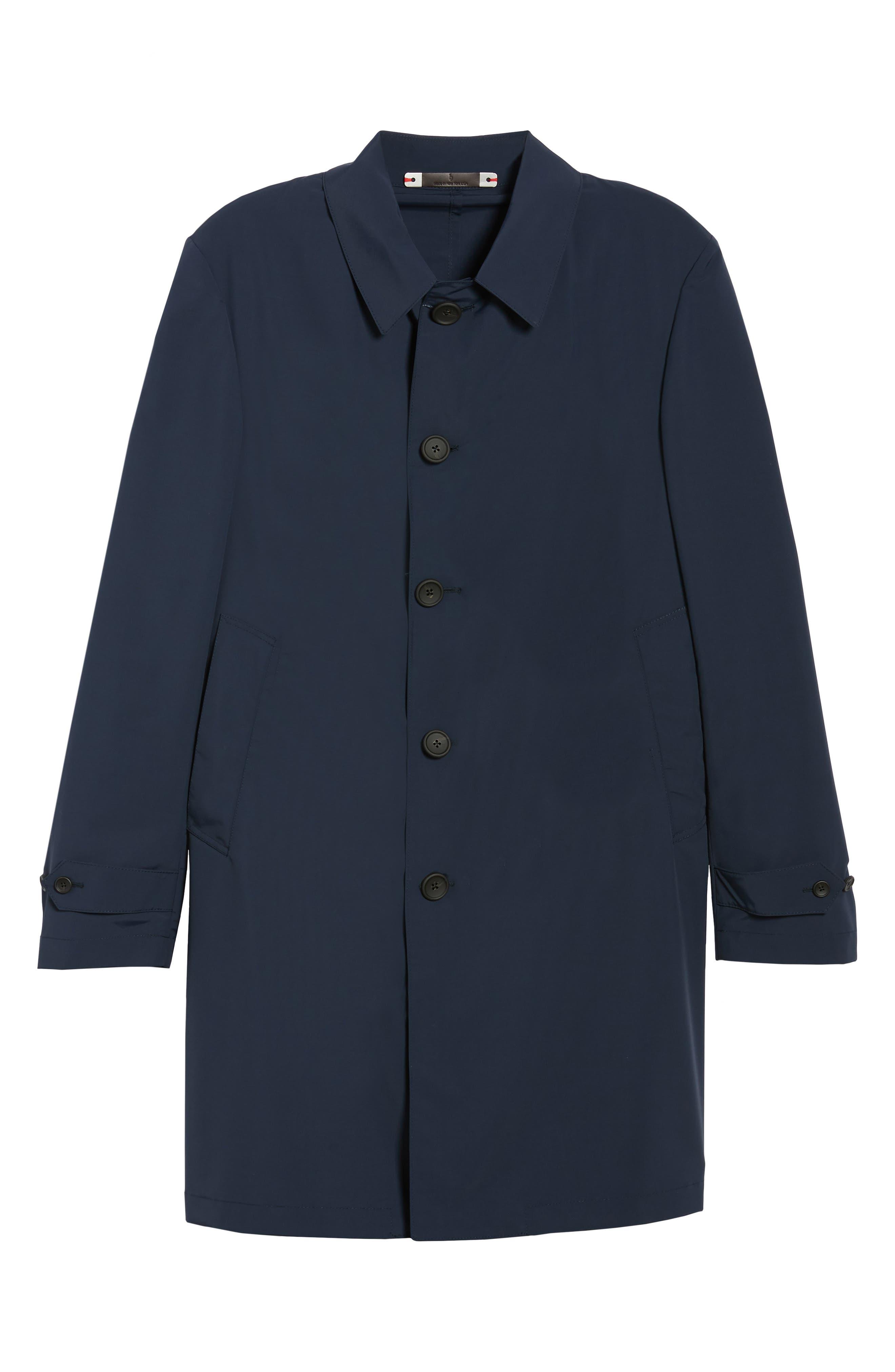 Shell Wool Blend Rain Coat,                             Alternate thumbnail 6, color,                             Navy