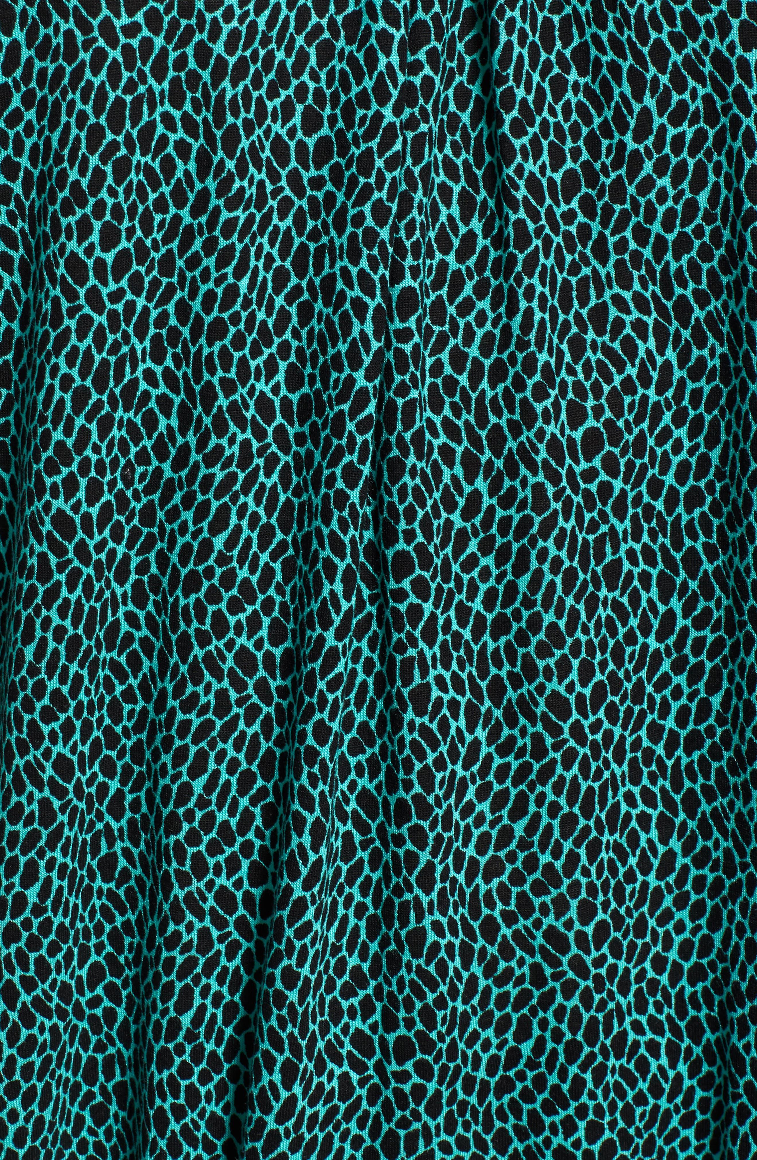 Graphic Leopard Print Peasant Top,                             Alternate thumbnail 6, color,                             Aqua/ Black