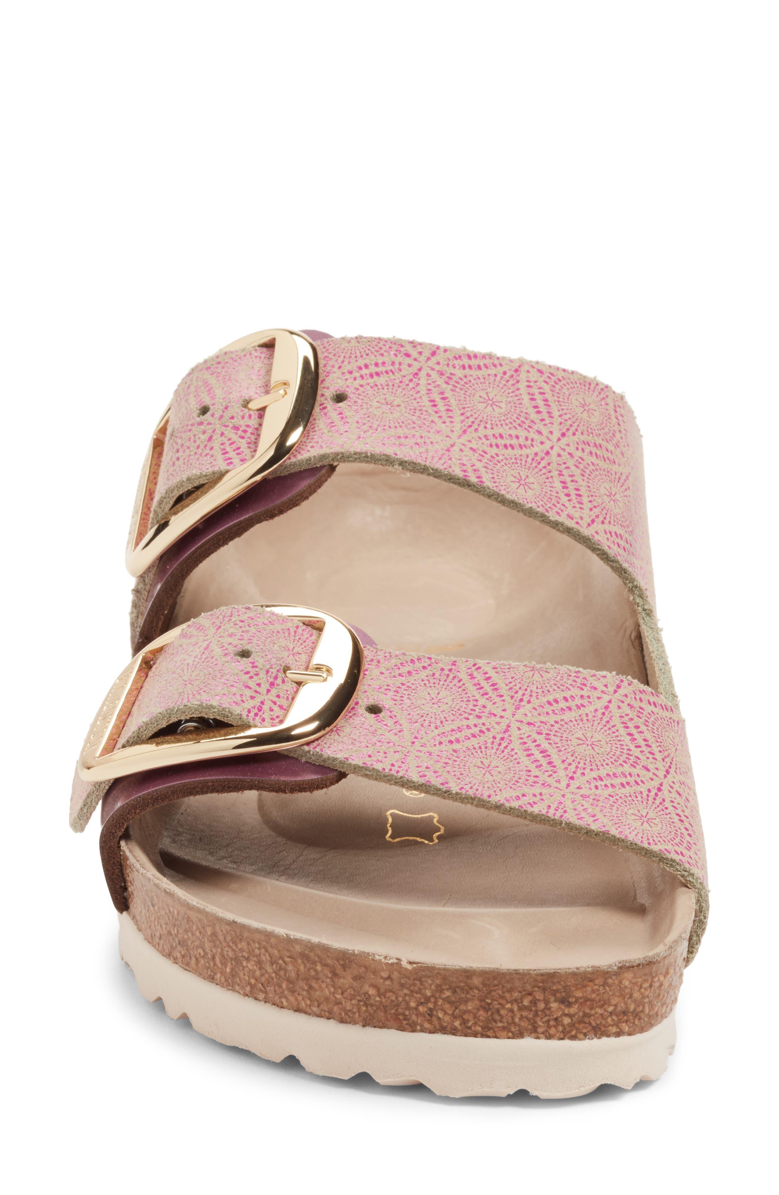 Arizona Big Buckle Slide Sandal,                             Alternate thumbnail 4, color,                             Ceramic Rose Leather