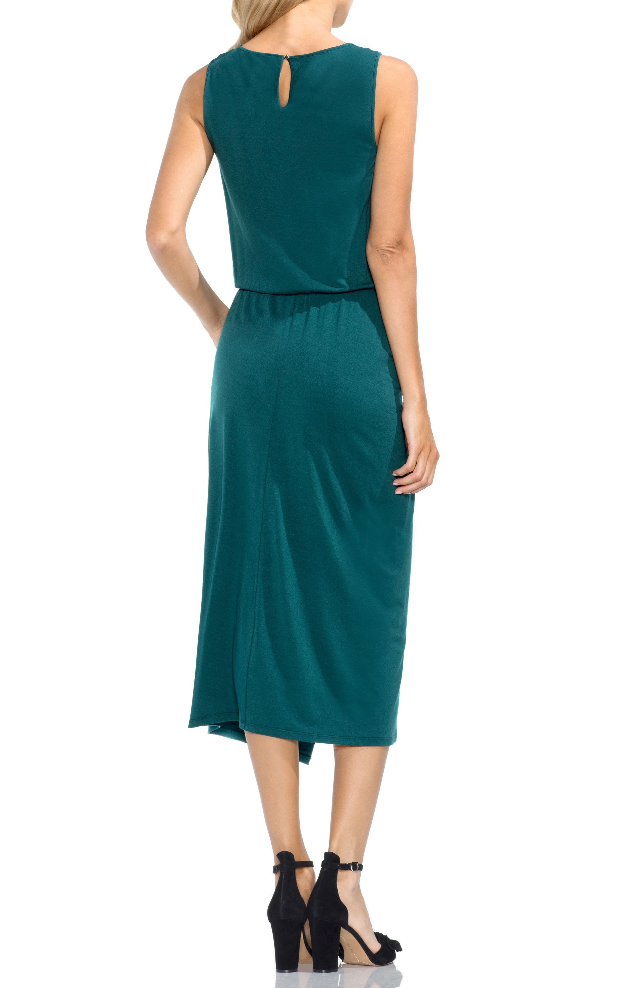 Ruched Midi Dress,                             Alternate thumbnail 2, color,                             Verdant Green