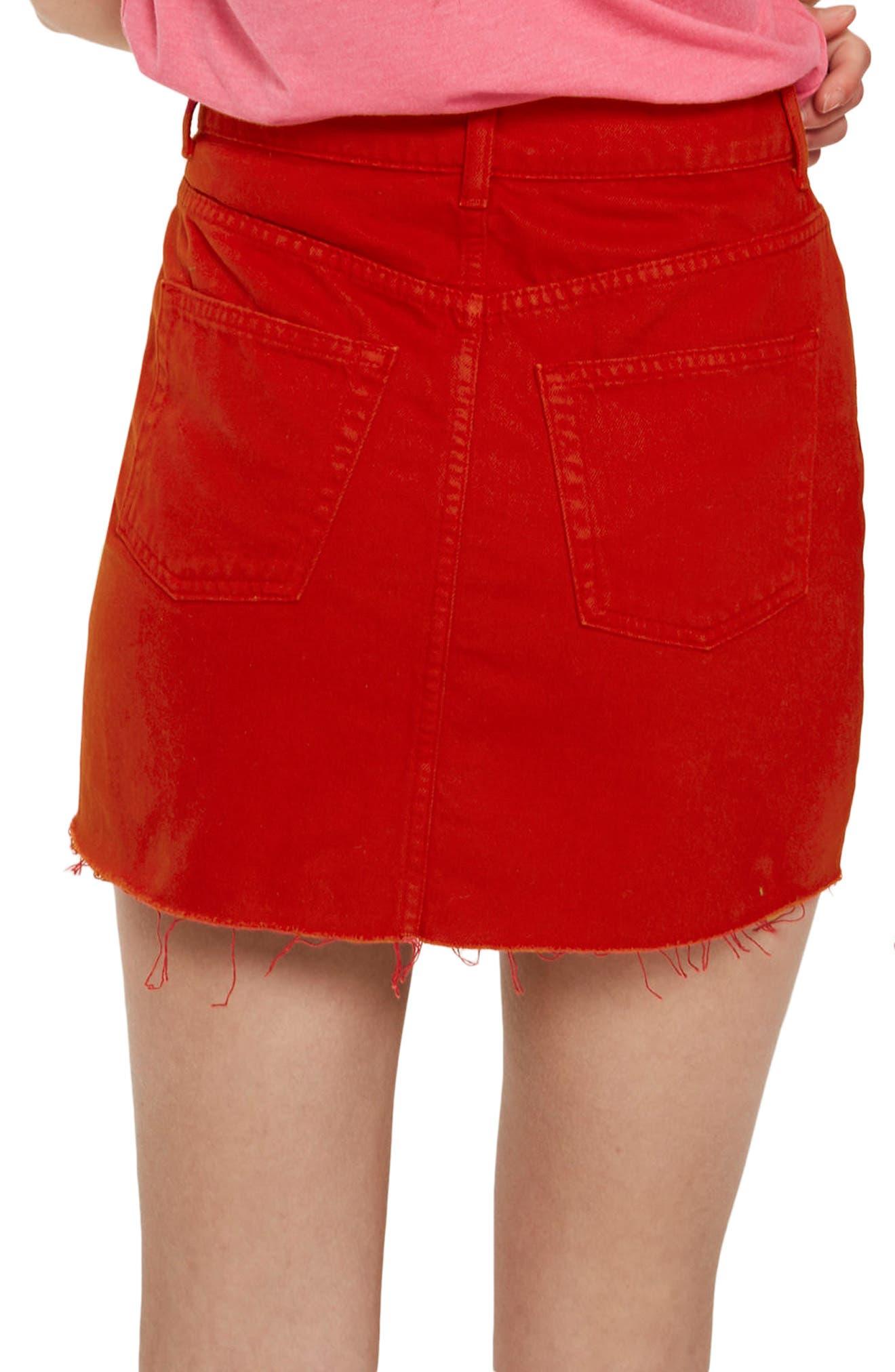 Fray Hem Miniskirt,                             Alternate thumbnail 2, color,                             Red