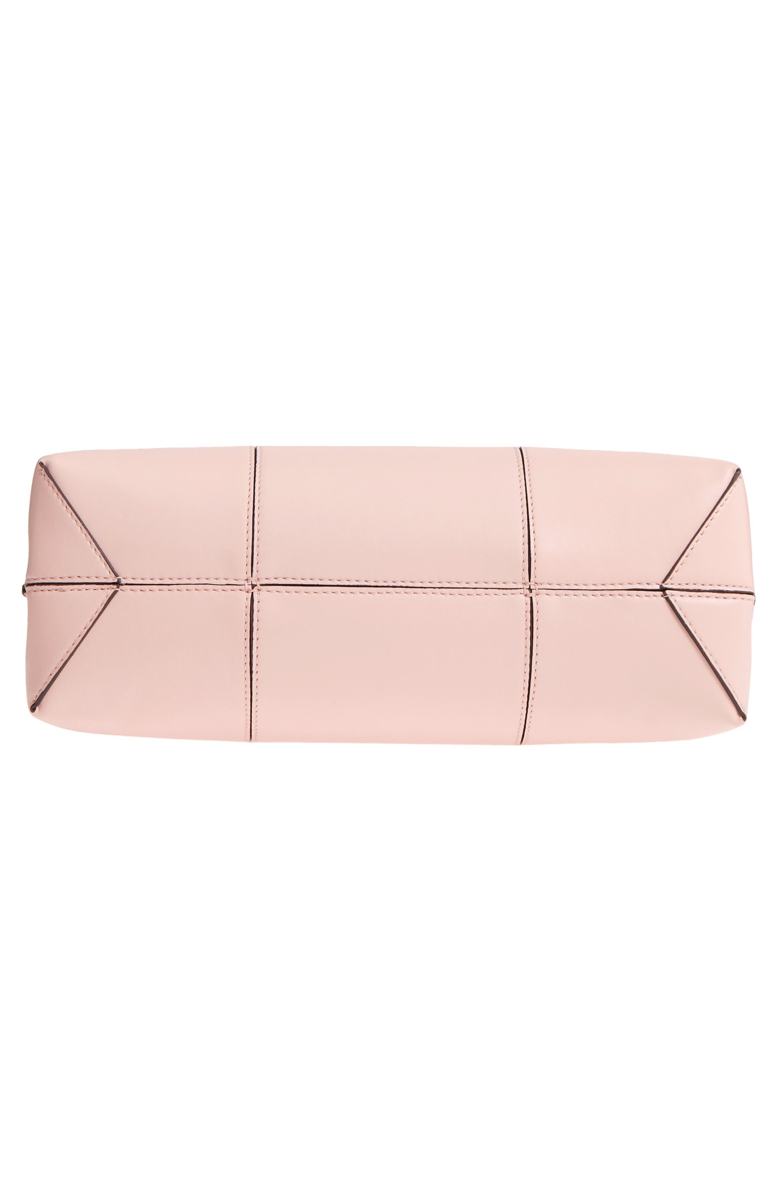 Block T Leather Top Handle Satchel,                             Alternate thumbnail 8, color,                             Shell Pink/ Goan Sand