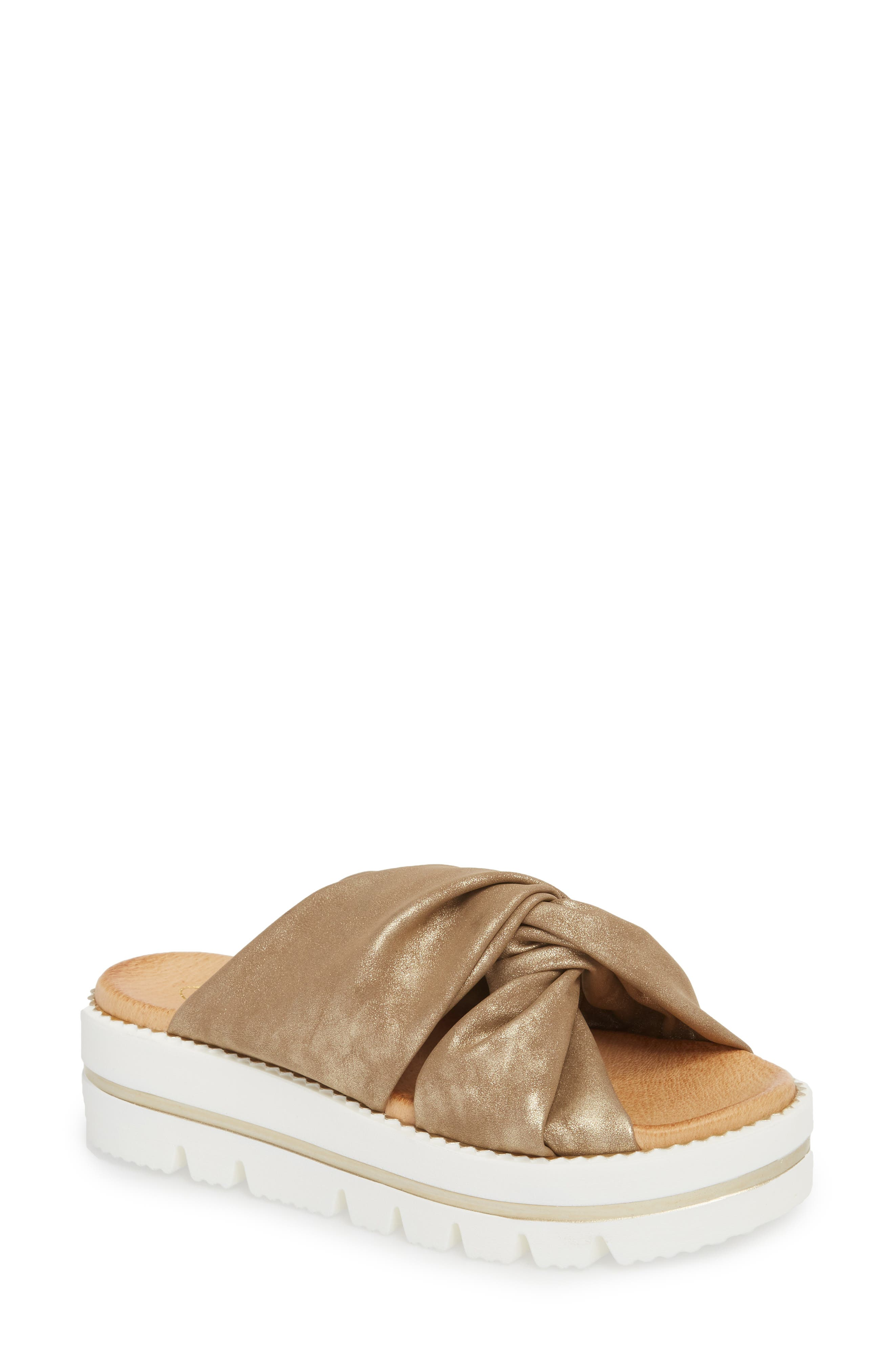Sandy Platform Slide Sandal,                         Main,                         color, Bronze Leather