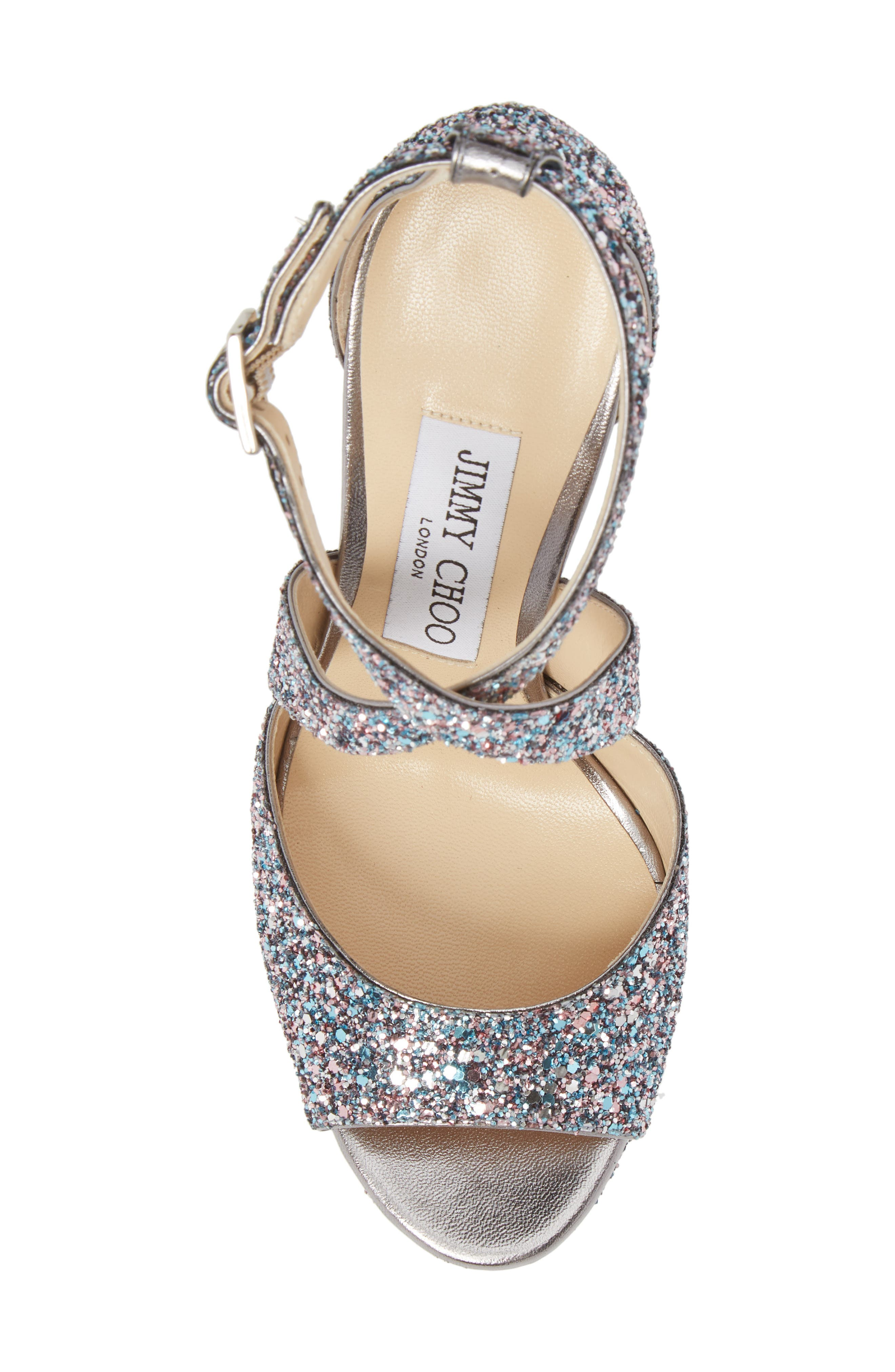 April Glitter Platform Sandal,                             Alternate thumbnail 5, color,                             Bubblegum