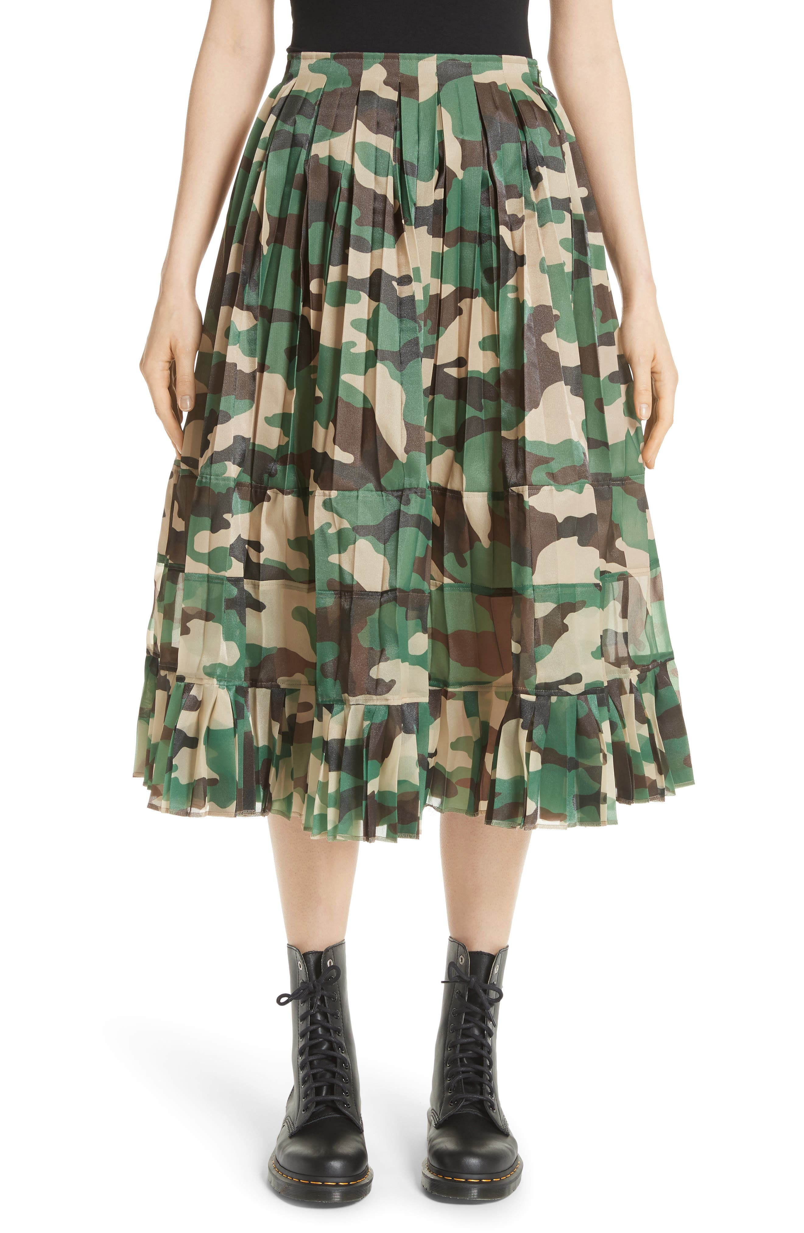 Junya Watanabe Pleated Camo Skirt