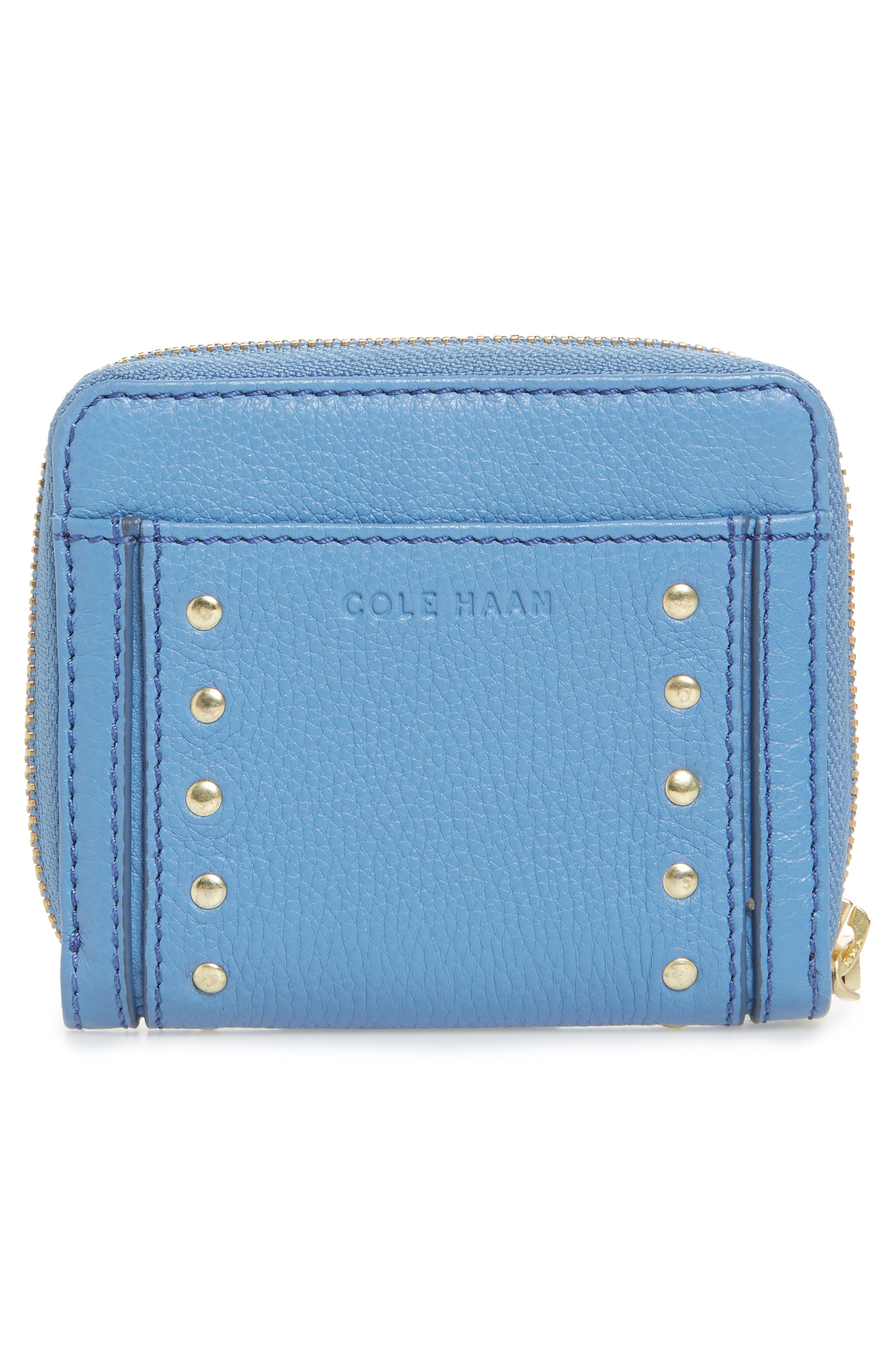 Cassidy Small RFID Leather Zip Wallet,                             Alternate thumbnail 4, color,                             Riverside
