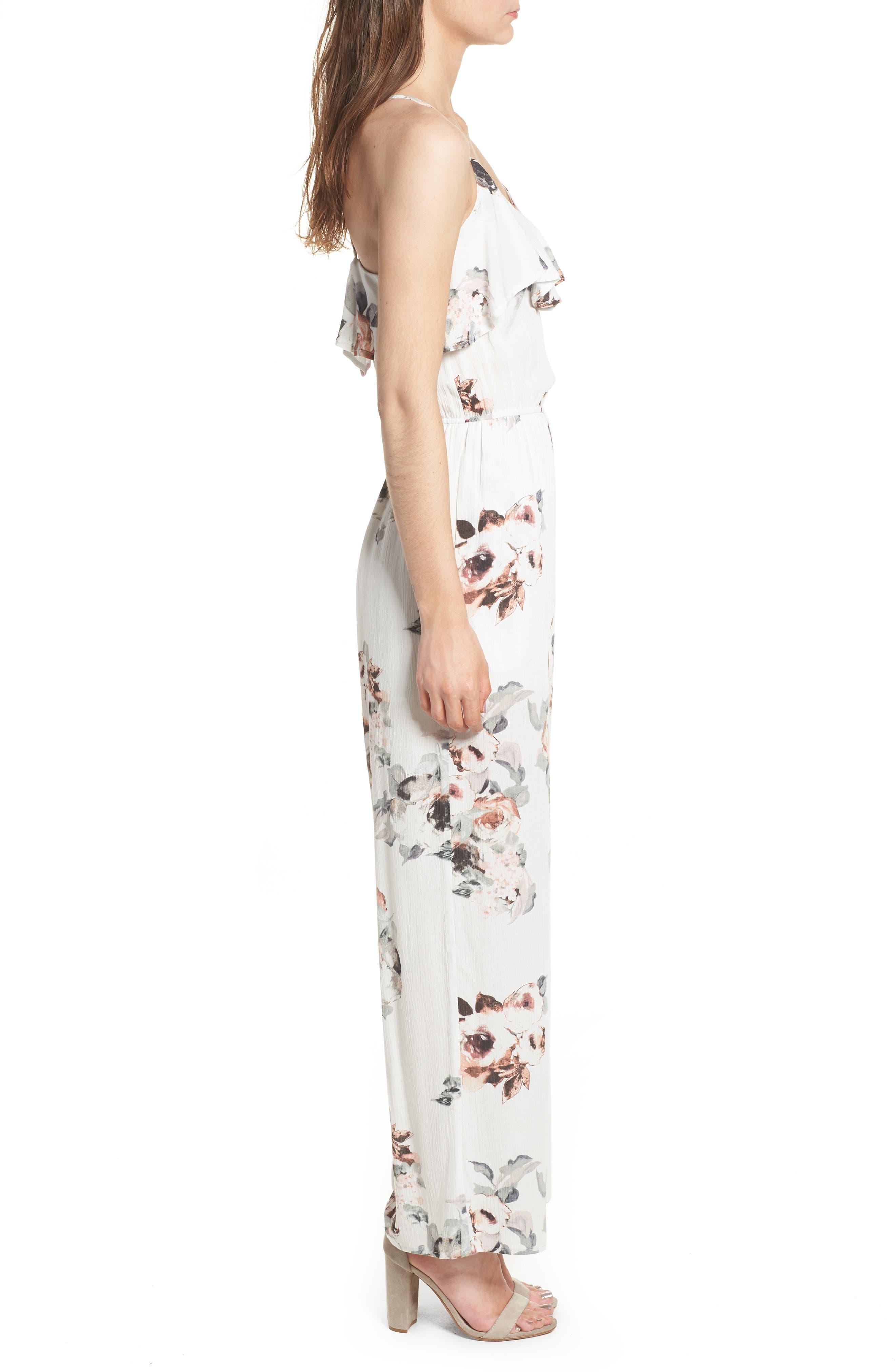 Floral Print Jumpsuit,                             Alternate thumbnail 4, color,                             White Floral