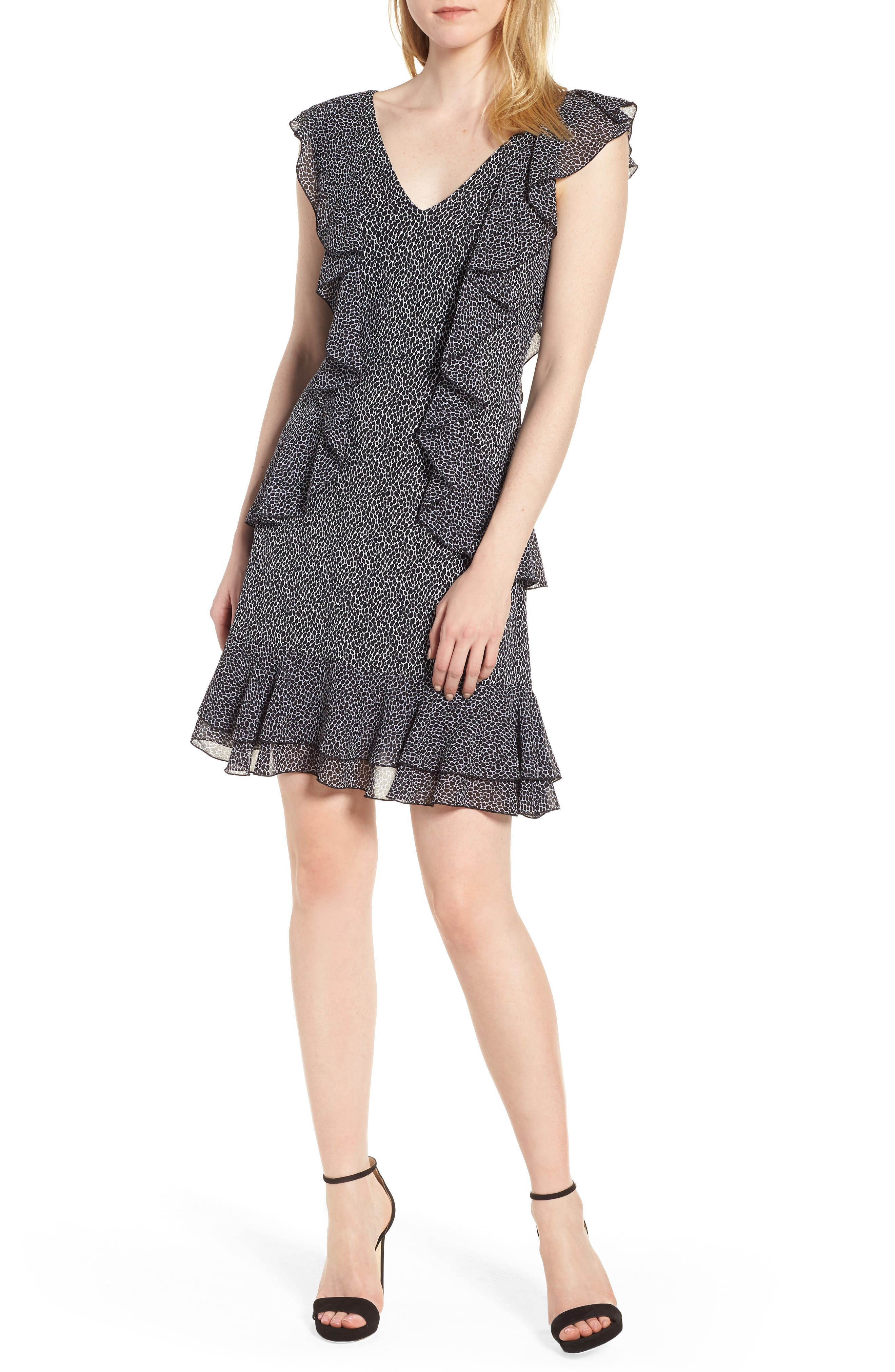 Leopard Cascade Mini Dress,                             Main thumbnail 1, color,                             White/ Black