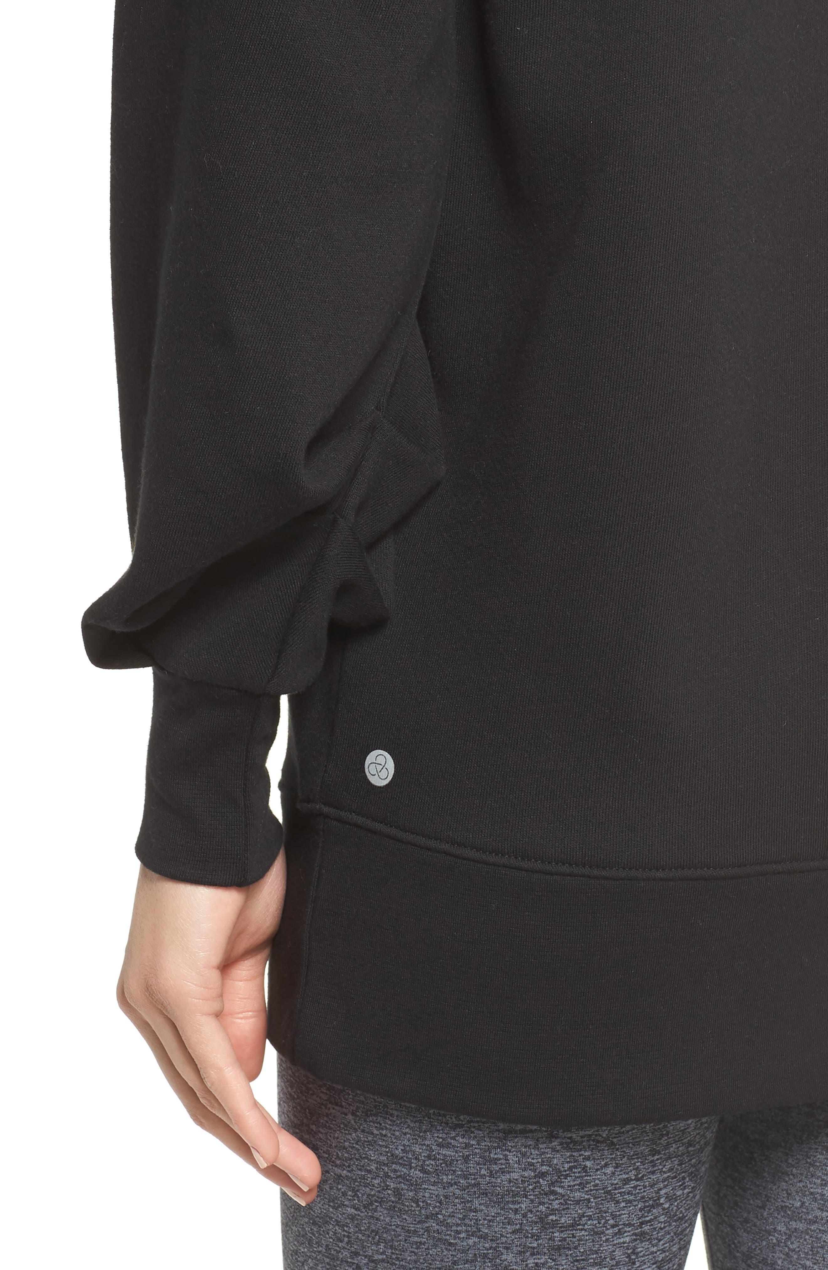 Boxy Oversize Sweatshirt,                             Alternate thumbnail 4, color,                             Black