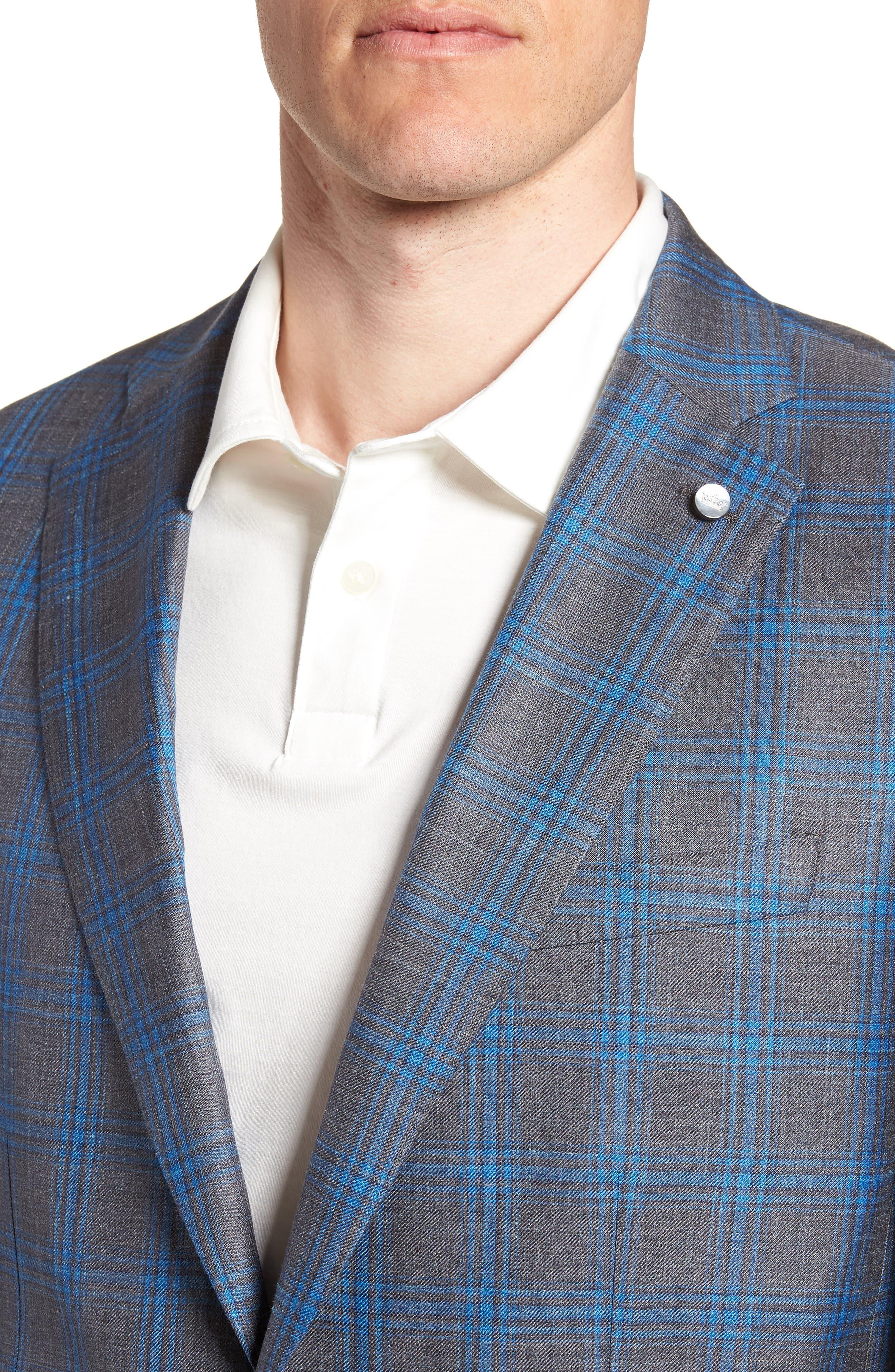 Marina Windowpane Wool & Silk Blend Sport Coat,                             Alternate thumbnail 4, color,                             Onda Blue