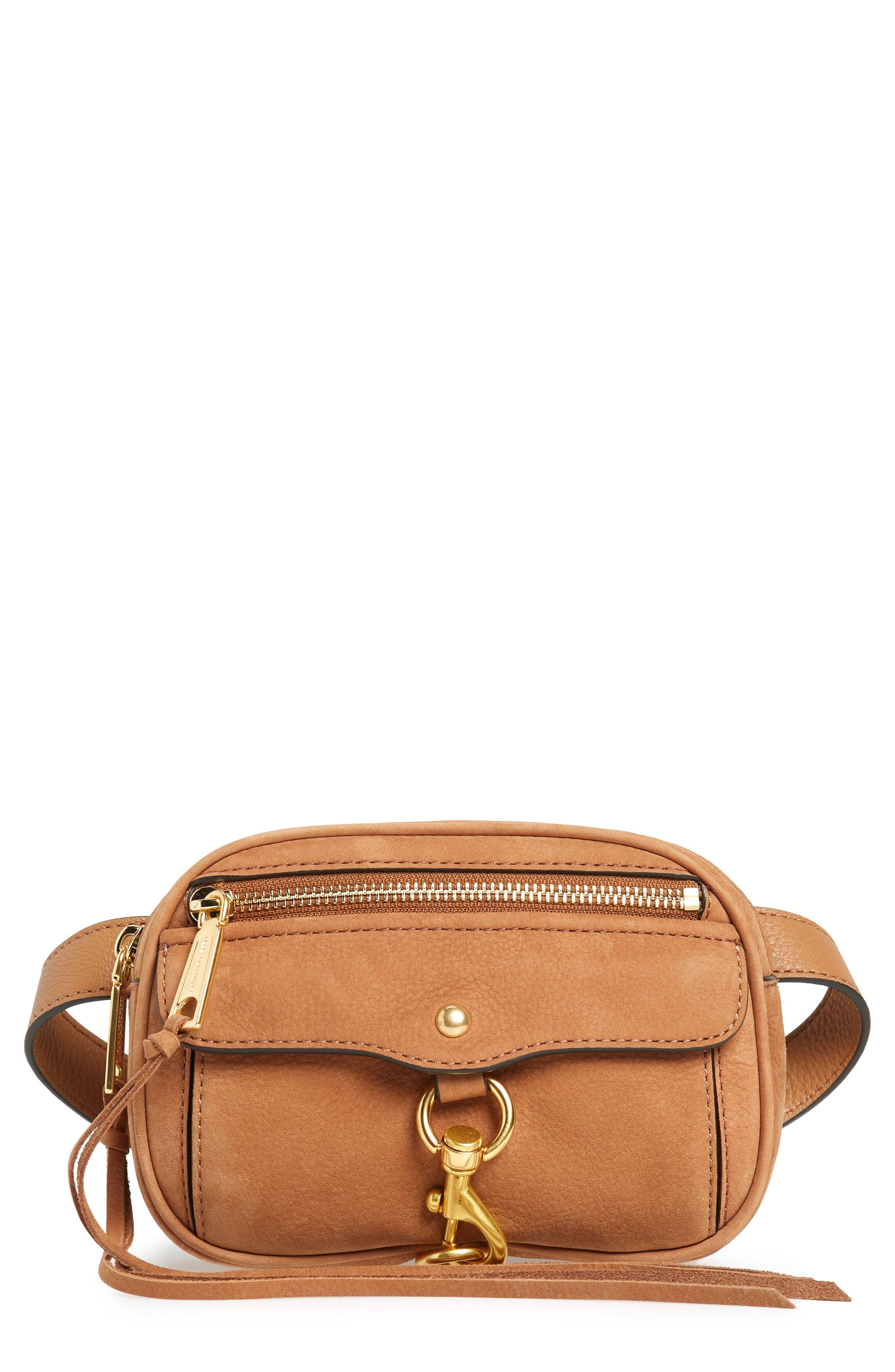 Blythe Leather Belt Bag,                         Main,                         color, Almond