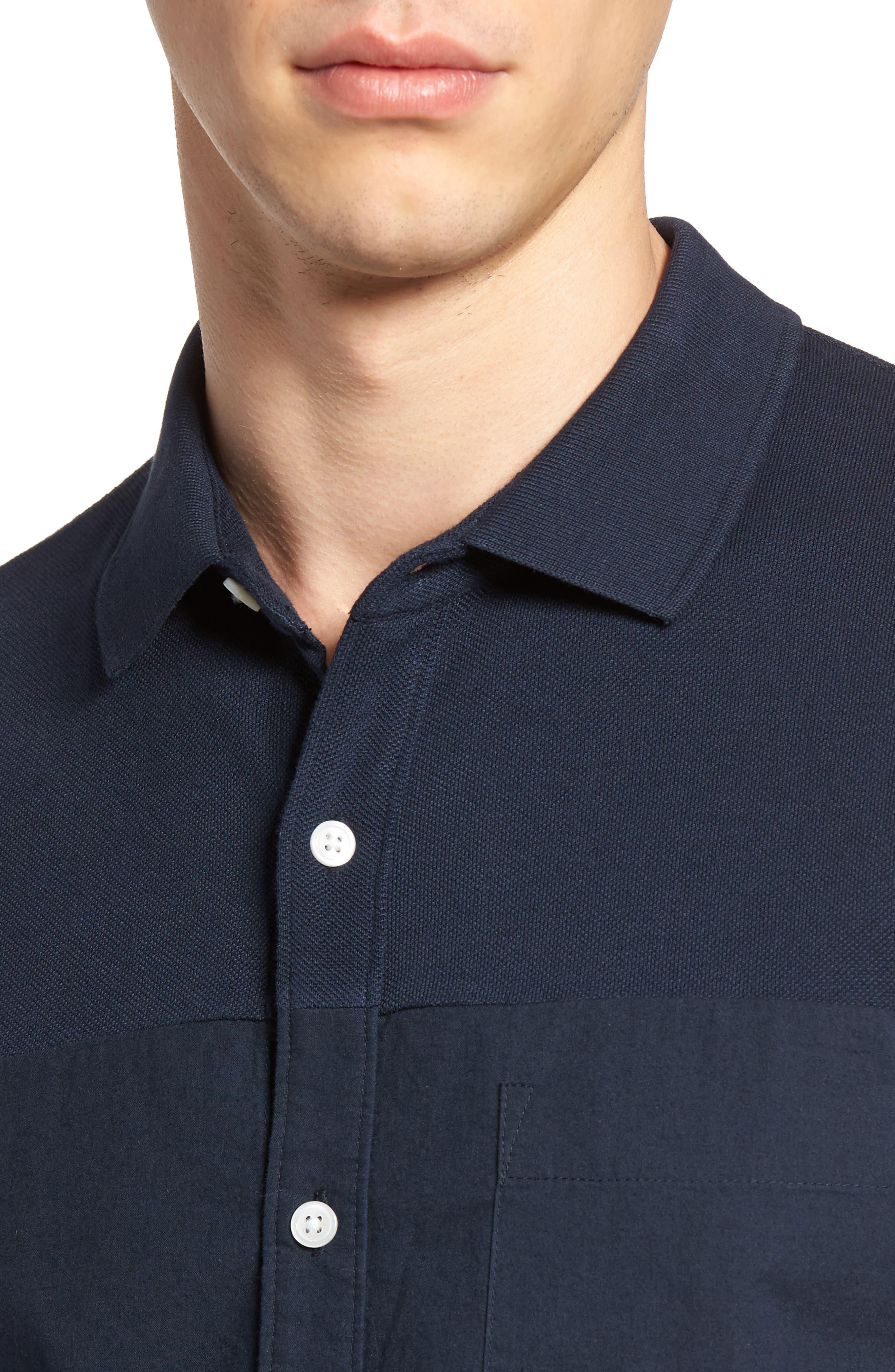 Slim Fit Short Sleeve Sport Shirt,                             Alternate thumbnail 2, color,                             Marine Blue