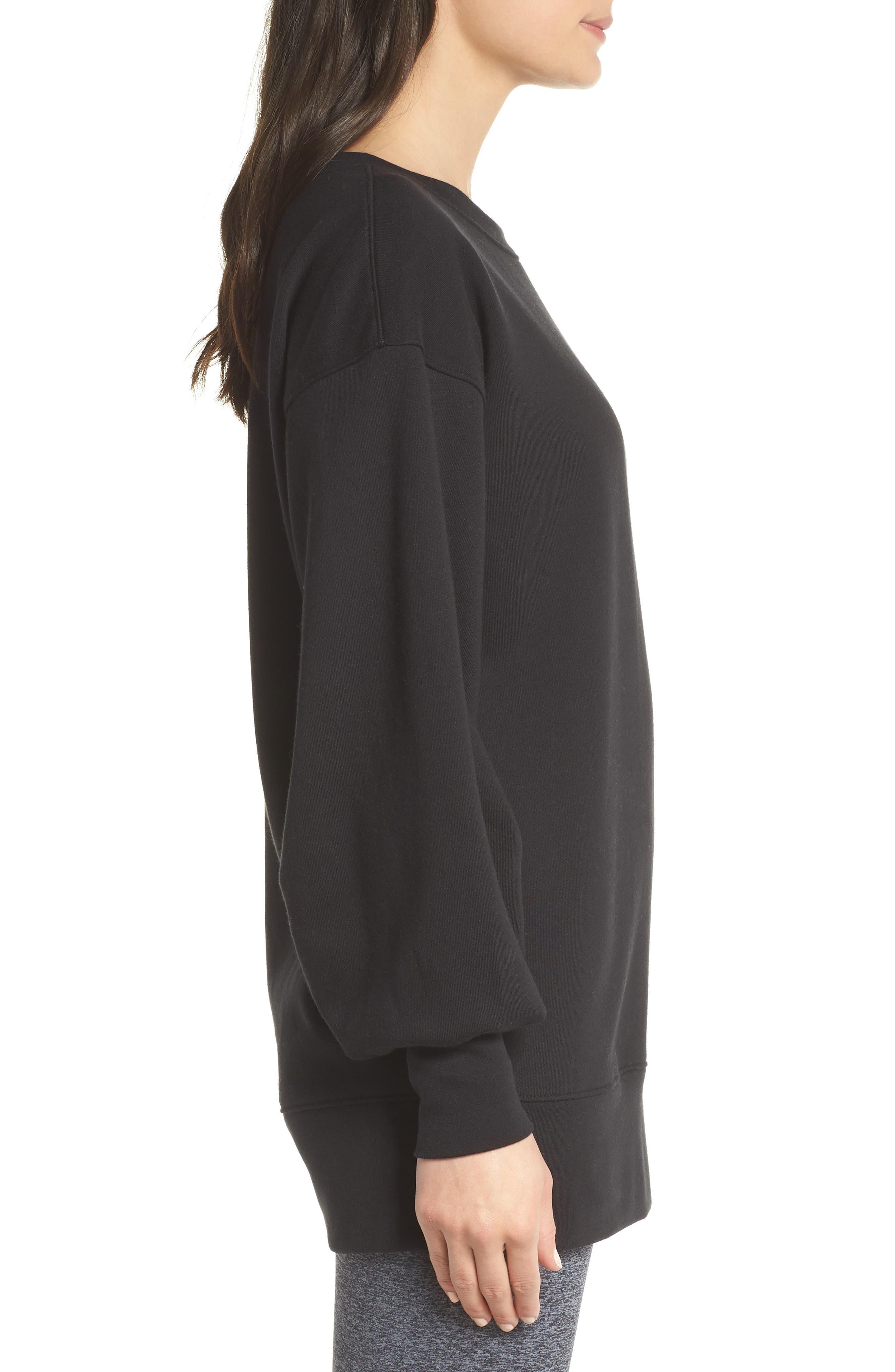 Boxy Oversize Sweatshirt,                             Alternate thumbnail 3, color,                             Black