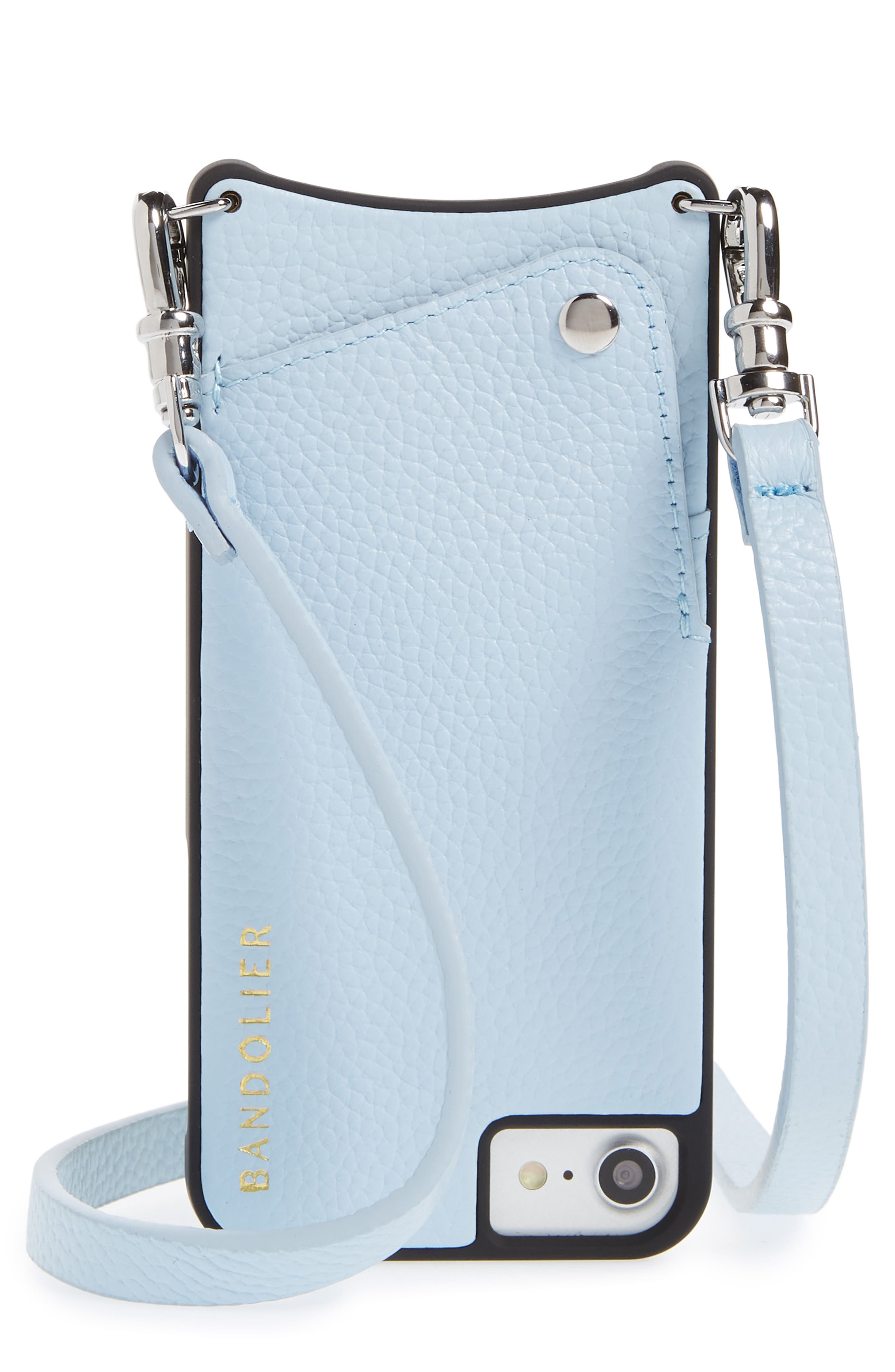 Emma Leather iPhone 6/7/8 & 6/7/8 Plus Crossbody Case,                             Main thumbnail 1, color,                             Light Blue/ Silver