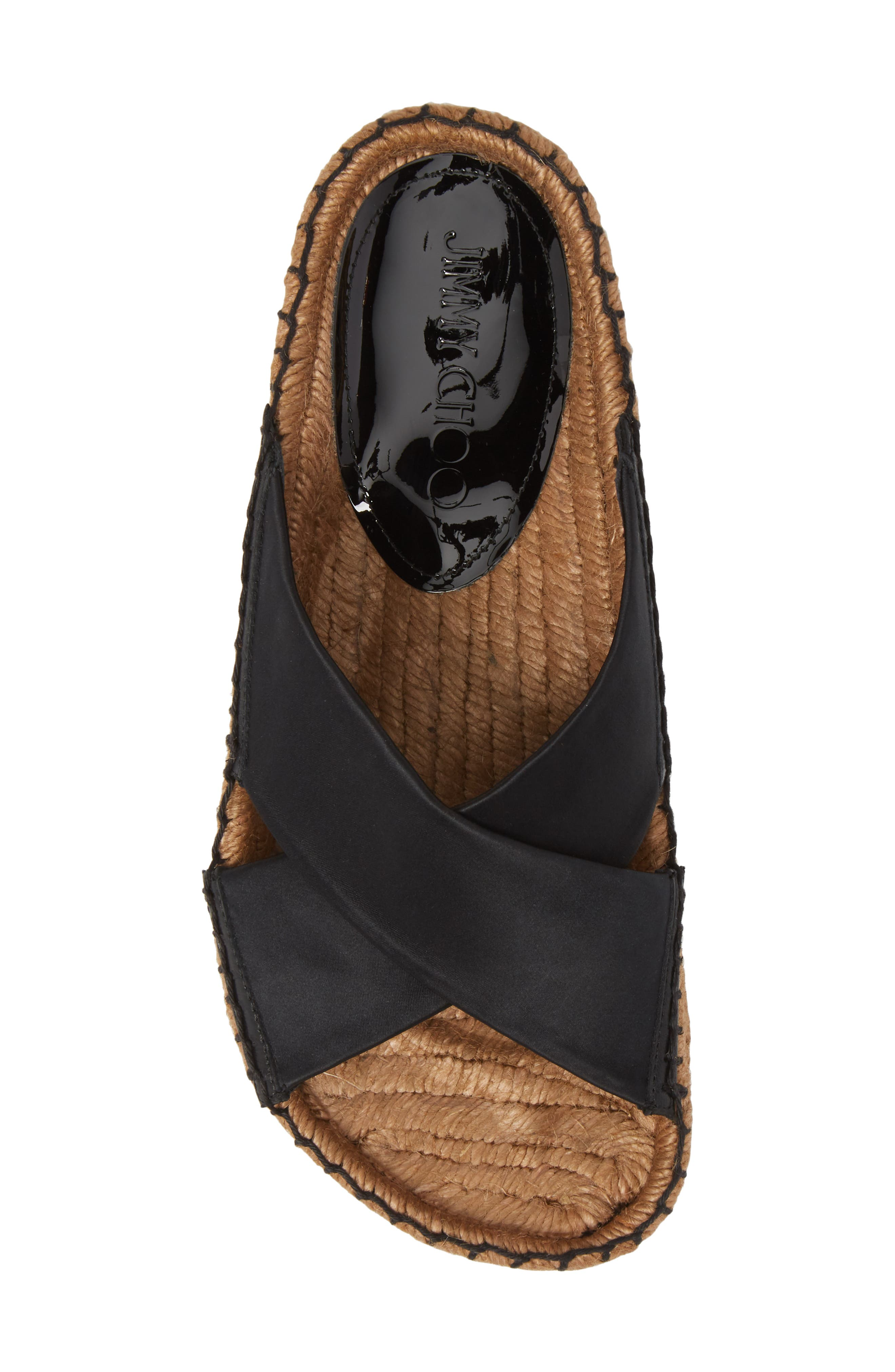 Danae Double Strap Espadrille Slide Sandal,                             Alternate thumbnail 5, color,                             Black