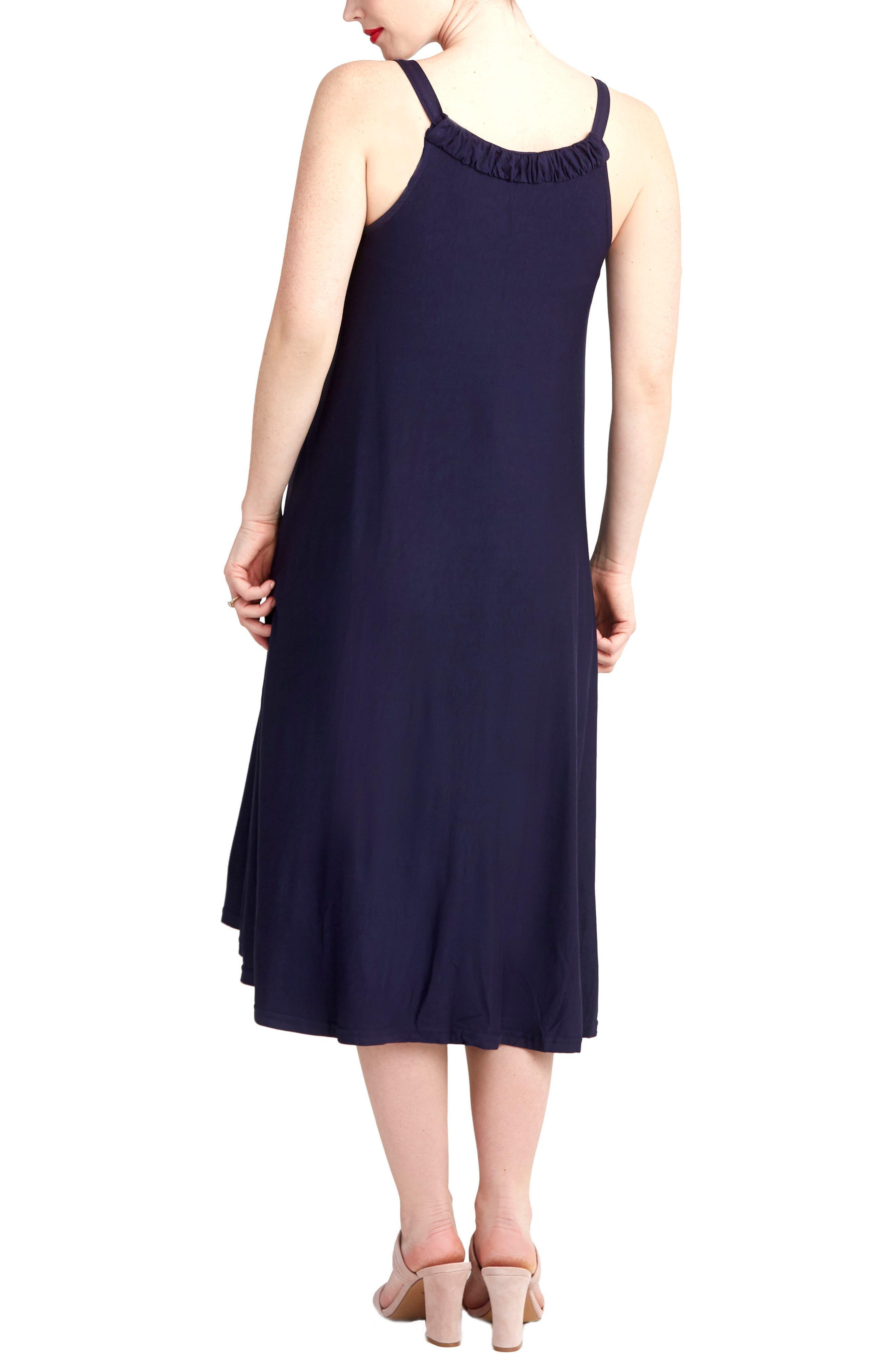Andrea Maternity Midi Dress,                             Alternate thumbnail 2, color,                             Navy