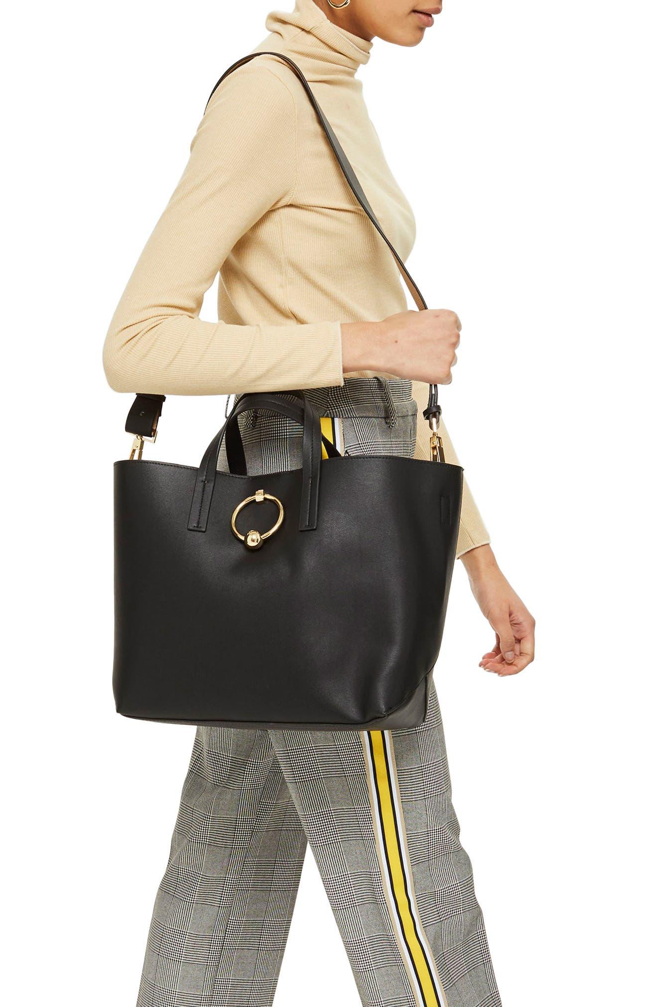 Seline Tote Bag,                             Alternate thumbnail 3, color,                             Black