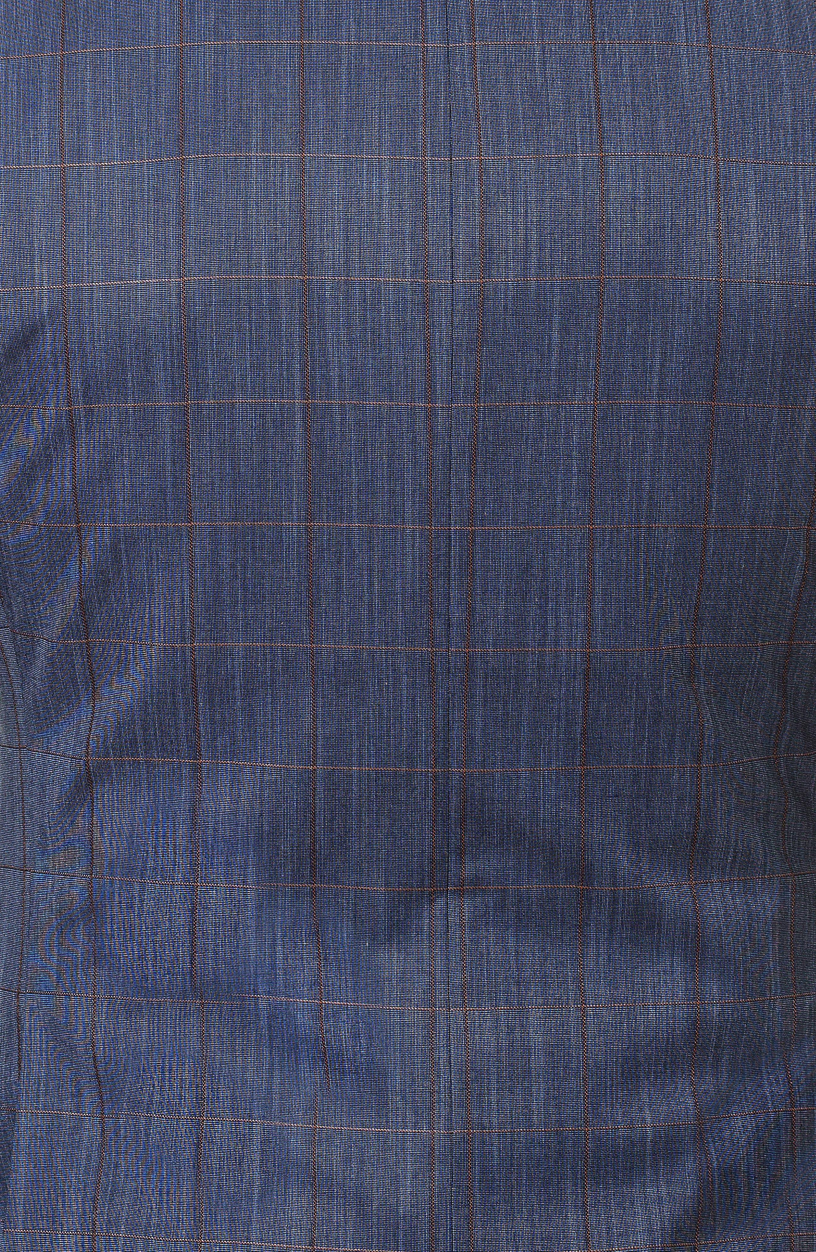 Descartes Check Linen & Cotton Blend Sport Coat,                             Alternate thumbnail 4, color,                             Blue