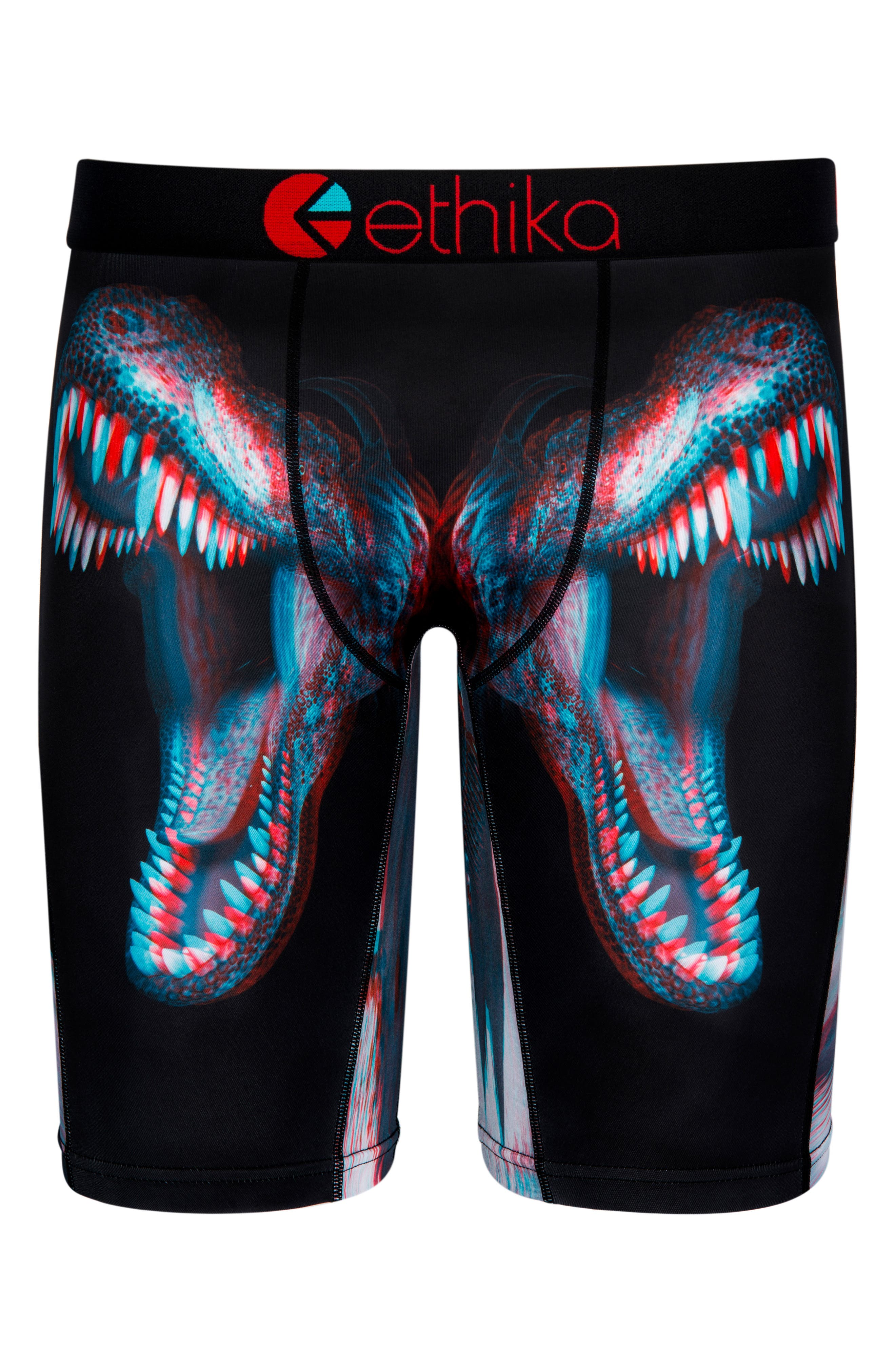 Tyrant 3D Dino Stretch Boxer Briefs with 3D Glasses,                             Main thumbnail 1, color,                             Black