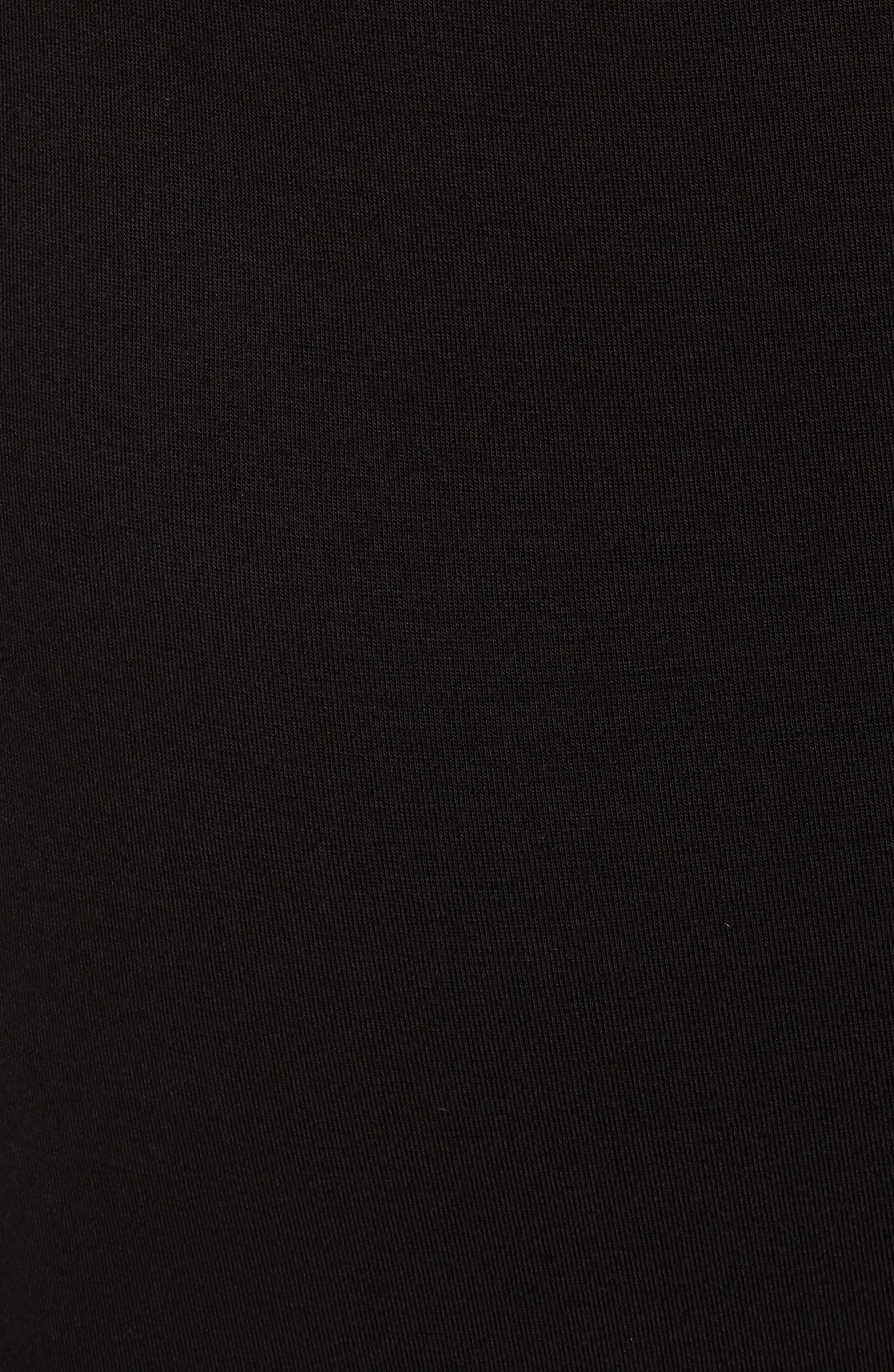 MICHAEL Michal Kors Stripe Sleeve Hoodie Dress,                             Alternate thumbnail 6, color,                             Black