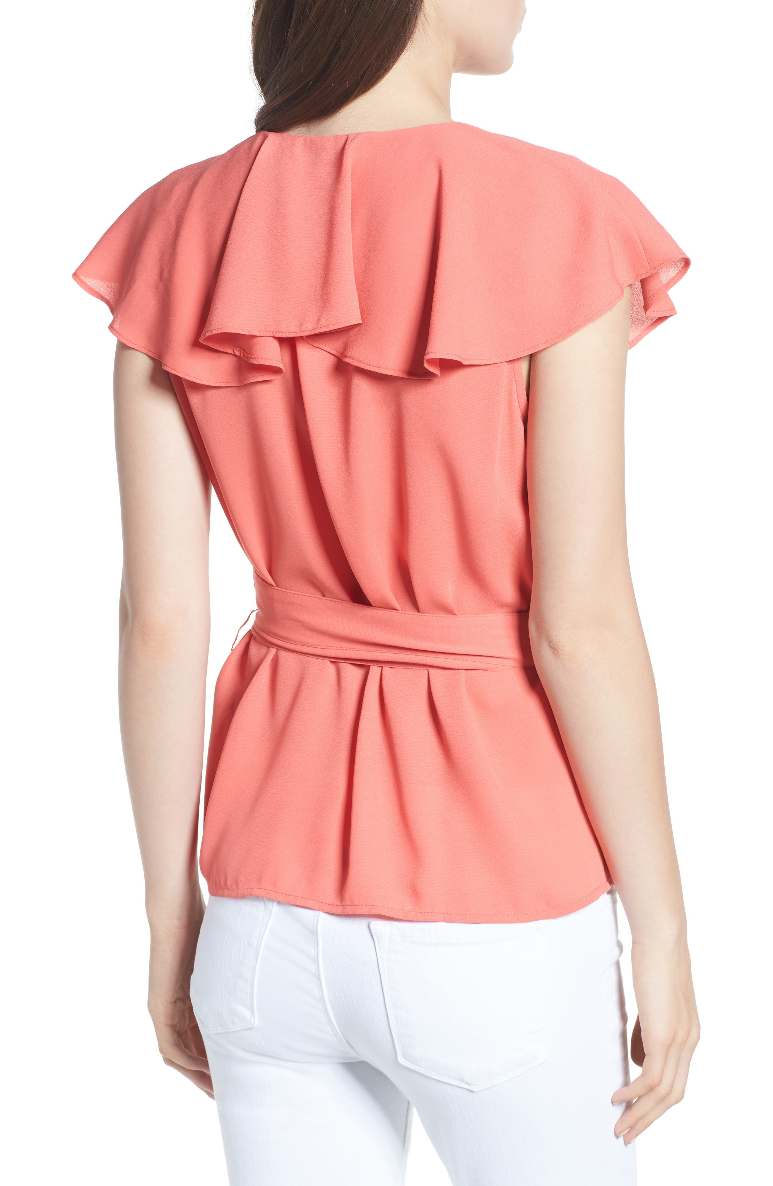 Wrap Top,                             Alternate thumbnail 2, color,                             Coral Spice