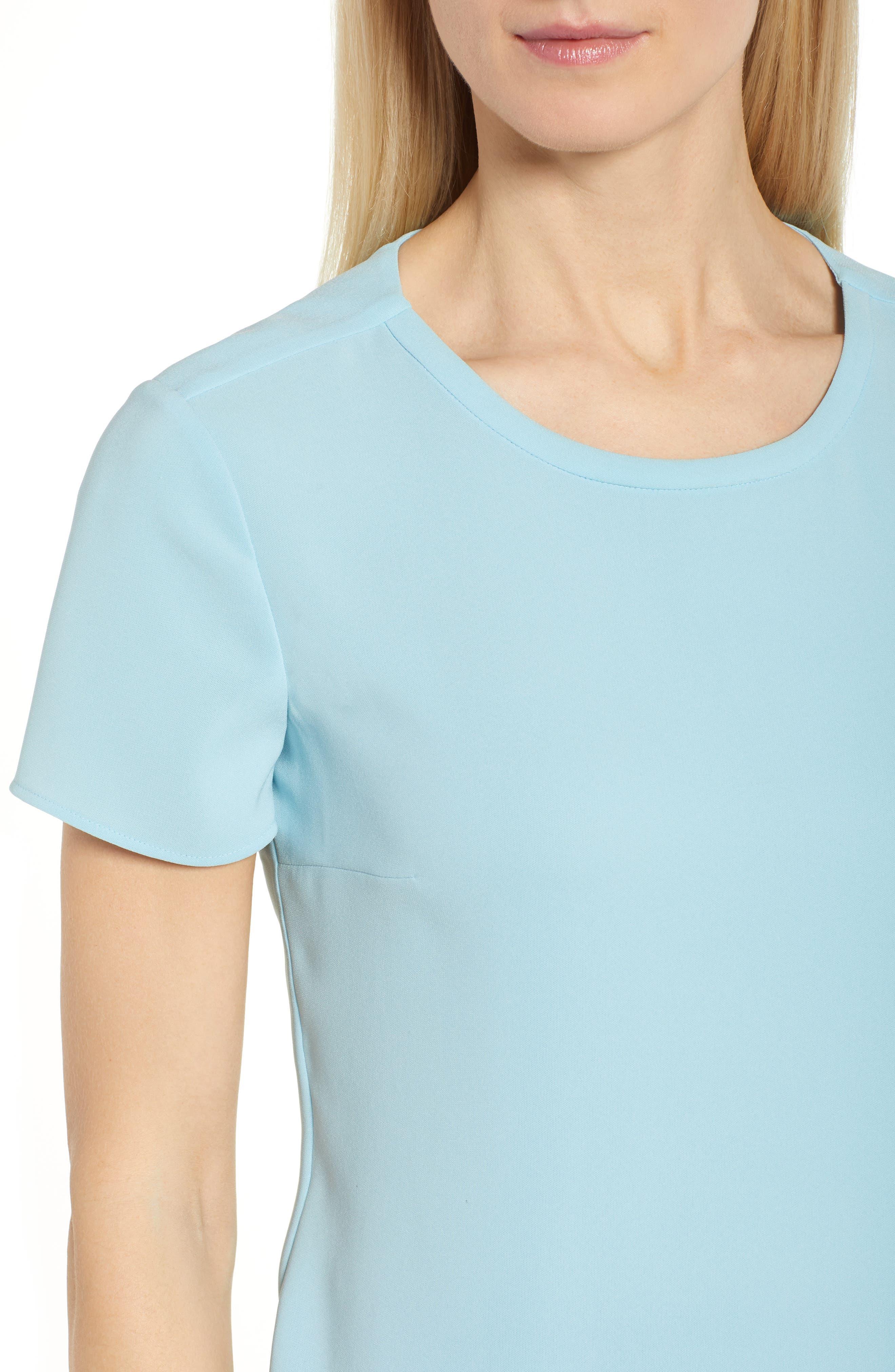 Ilyna Crepe Short Sleeve Top,                             Alternate thumbnail 4, color,                             Lagoon Blue