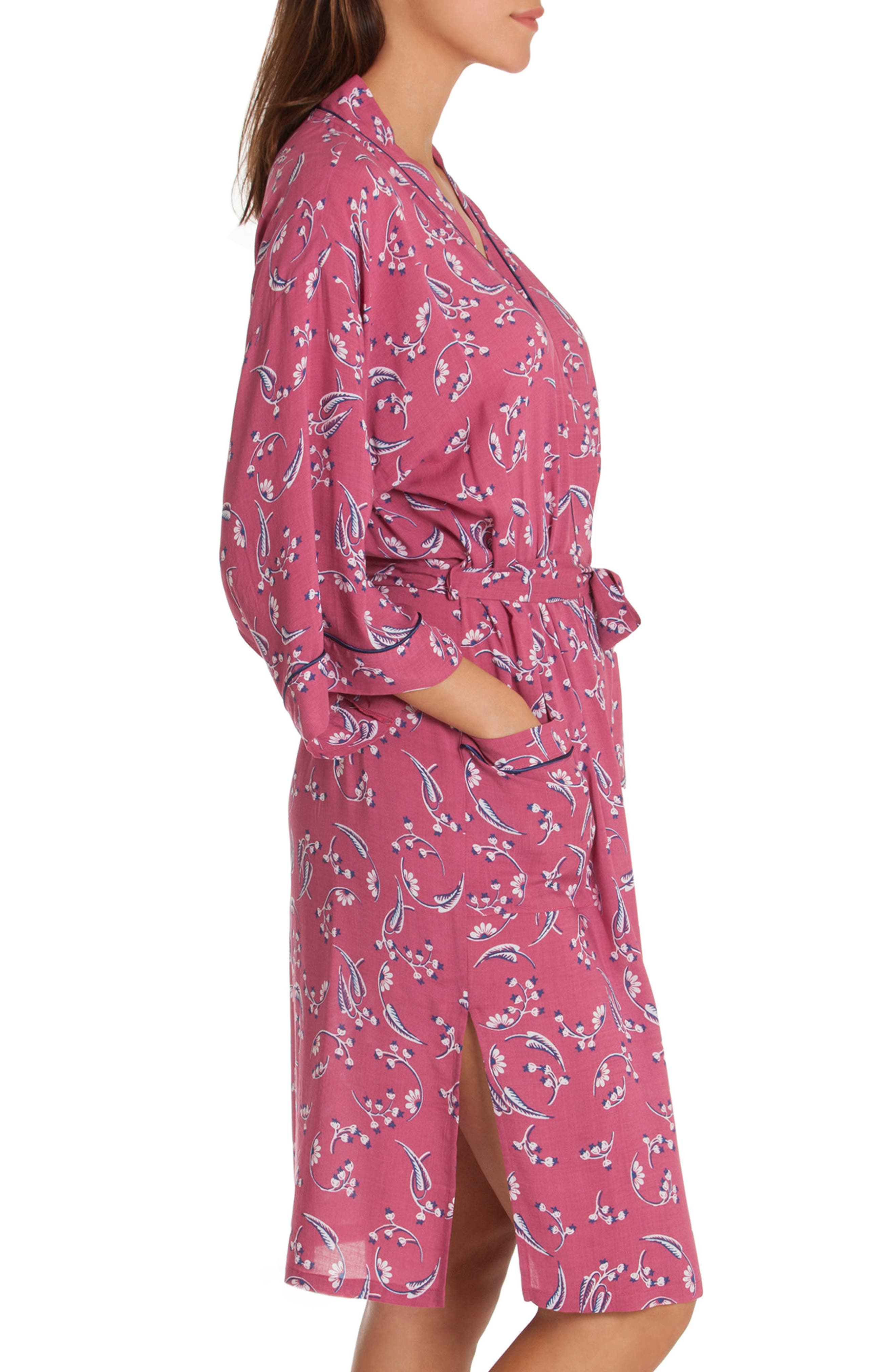 Short Robe,                             Alternate thumbnail 3, color,                             Cherry Print