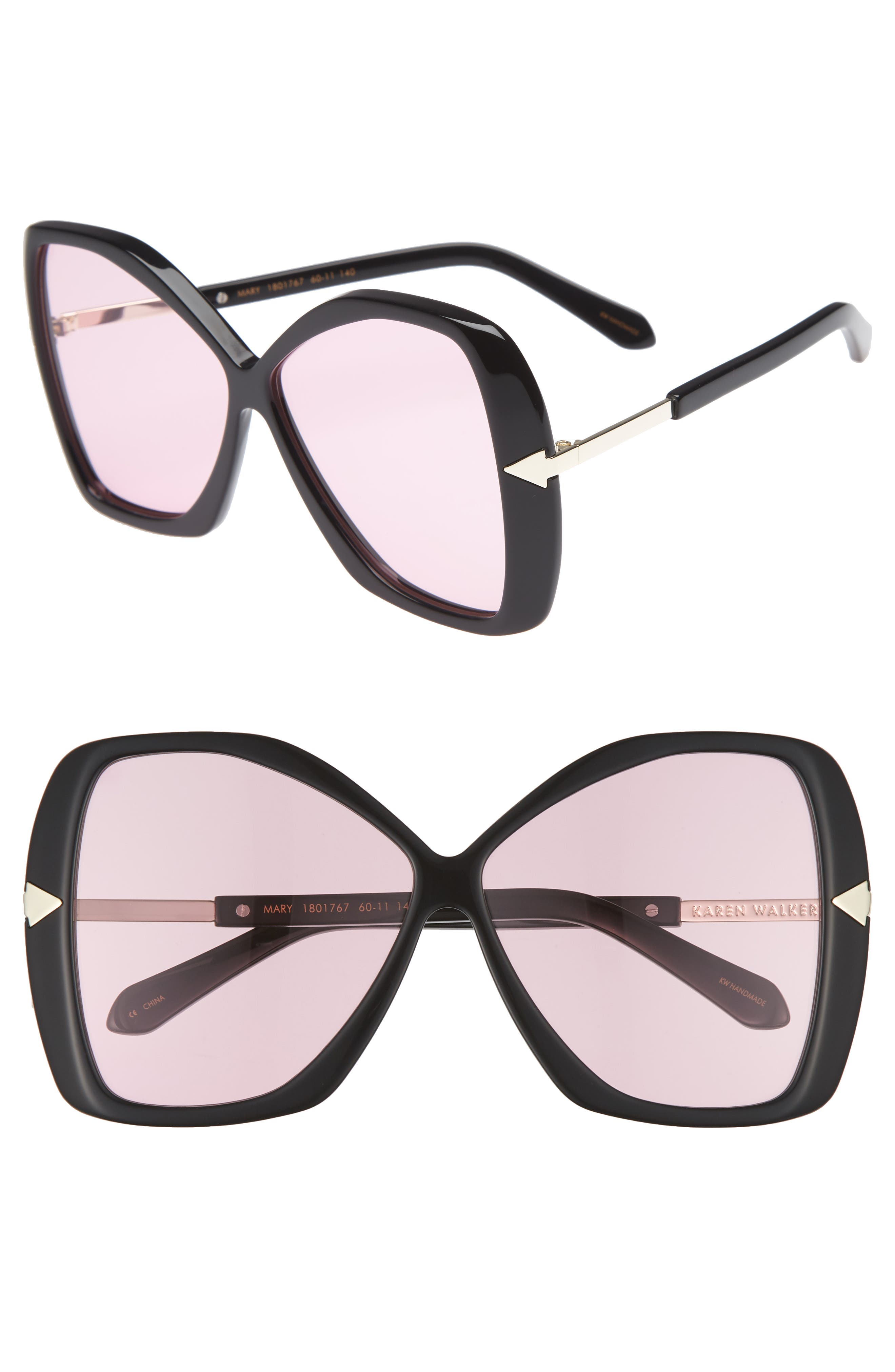 Mary 60mm Butterfly Sunglasses,                         Main,                         color, Black