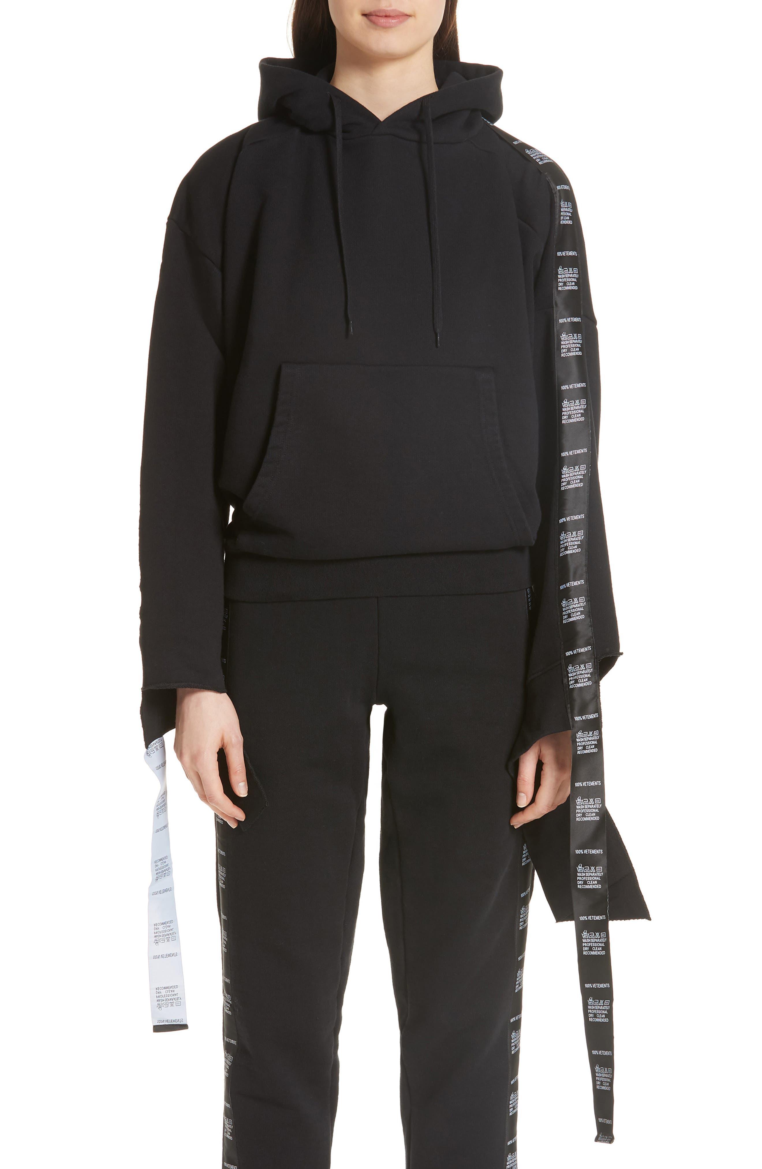 Tape Hoodie,                         Main,                         color, Black