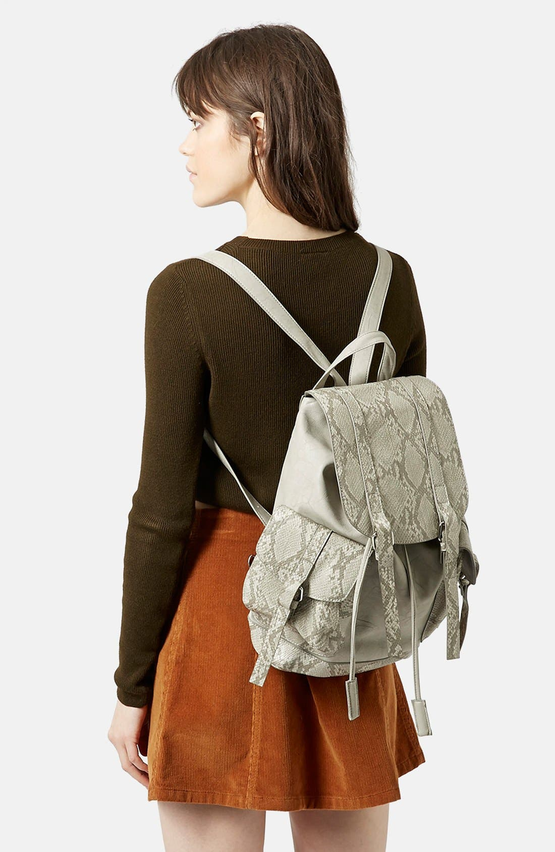 Alternate Image 2  - Topshop Snakeskin Pocket Faux Leather Backpack