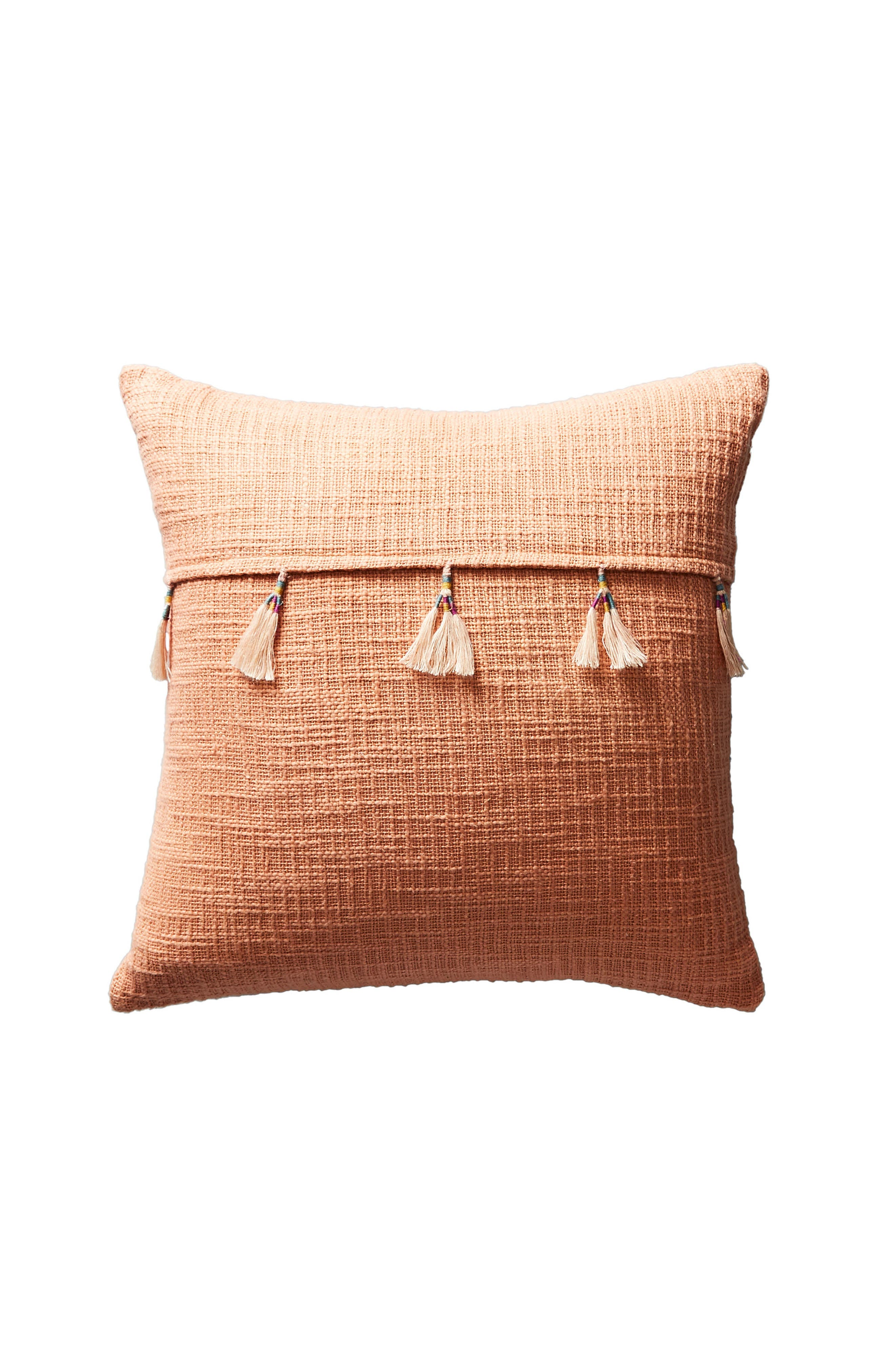 Varied Tassel Accent Pillow,                             Alternate thumbnail 3, color,                             Coral
