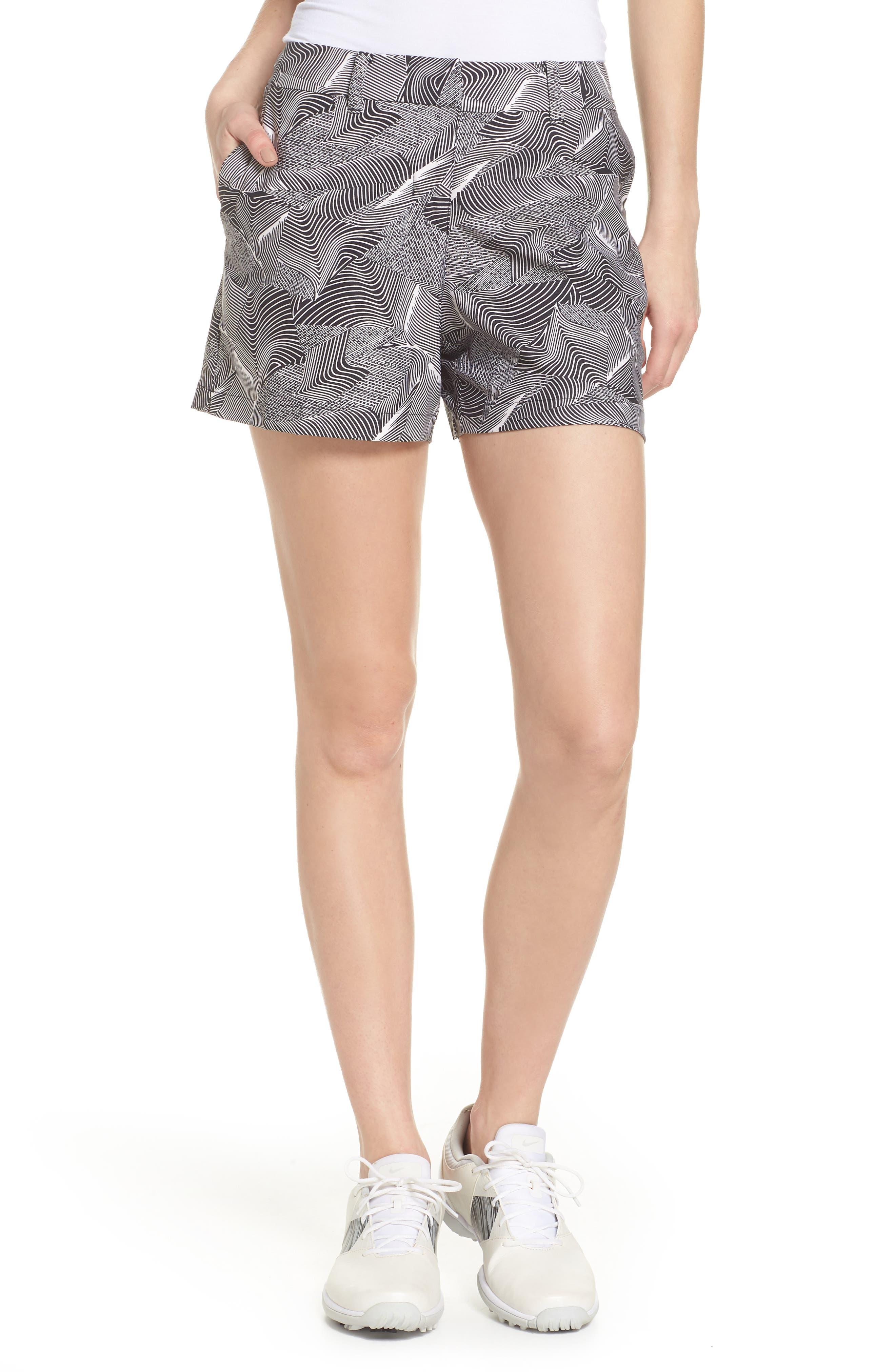 Flex Golf Shorts,                         Main,                         color, White/ Black/ White
