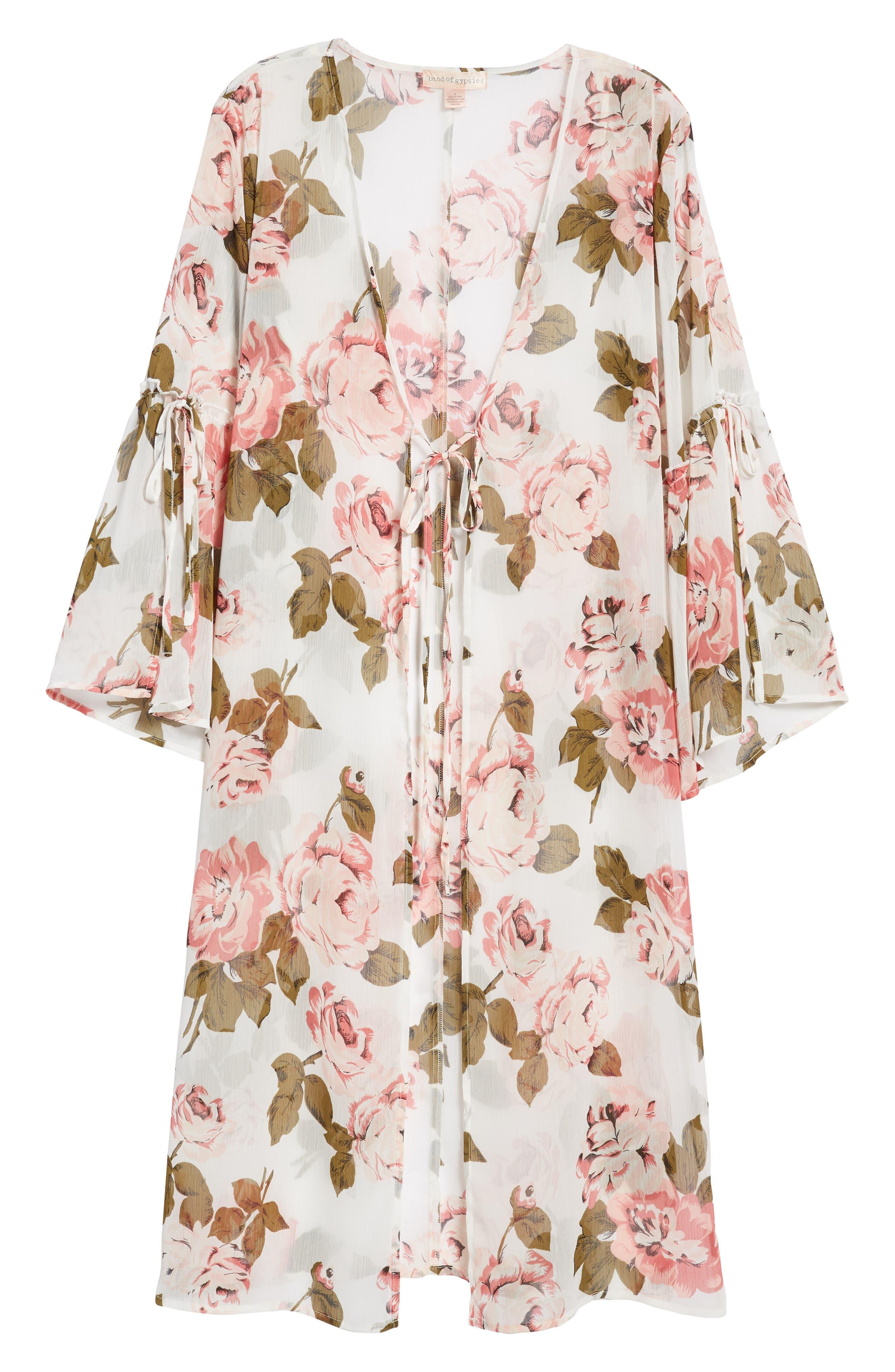Tie Sleeve Kimono,                             Alternate thumbnail 7, color,                             Ivory Rose Print