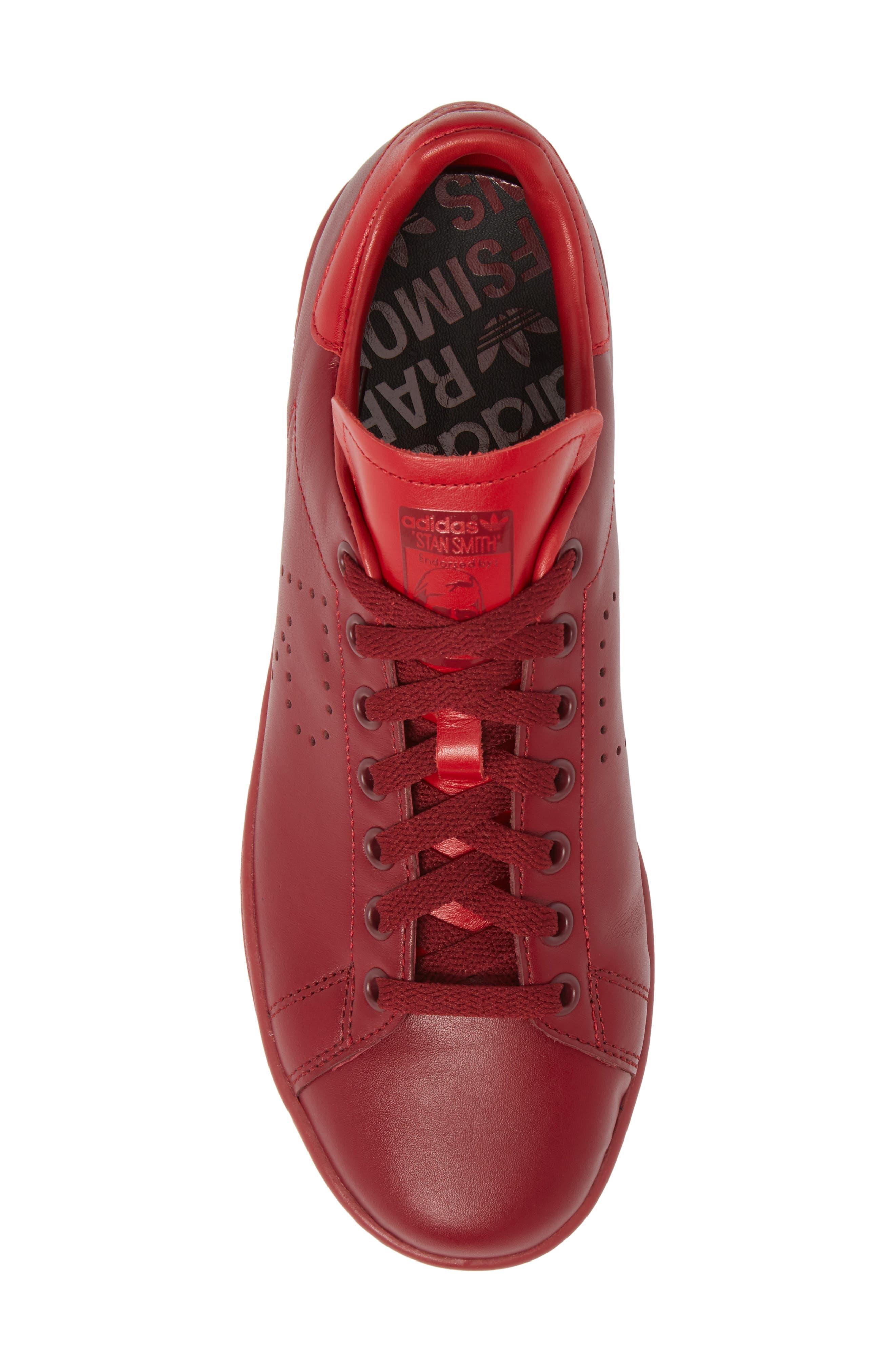 Stan Smith Sneaker,                             Alternate thumbnail 5, color,                             Burgundy/ Power Red/ Burgundy