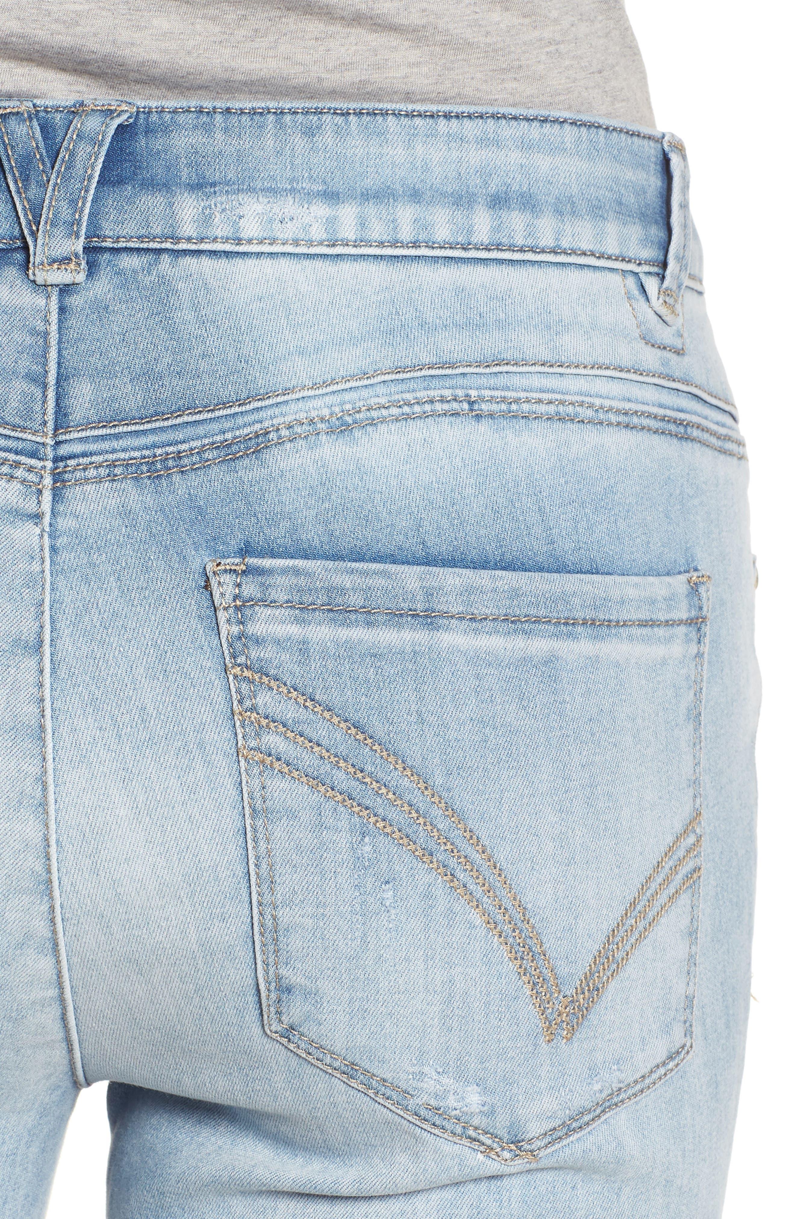 Ab-solution High Rise Crop Jeans,                             Alternate thumbnail 4, color,                             Light Blue