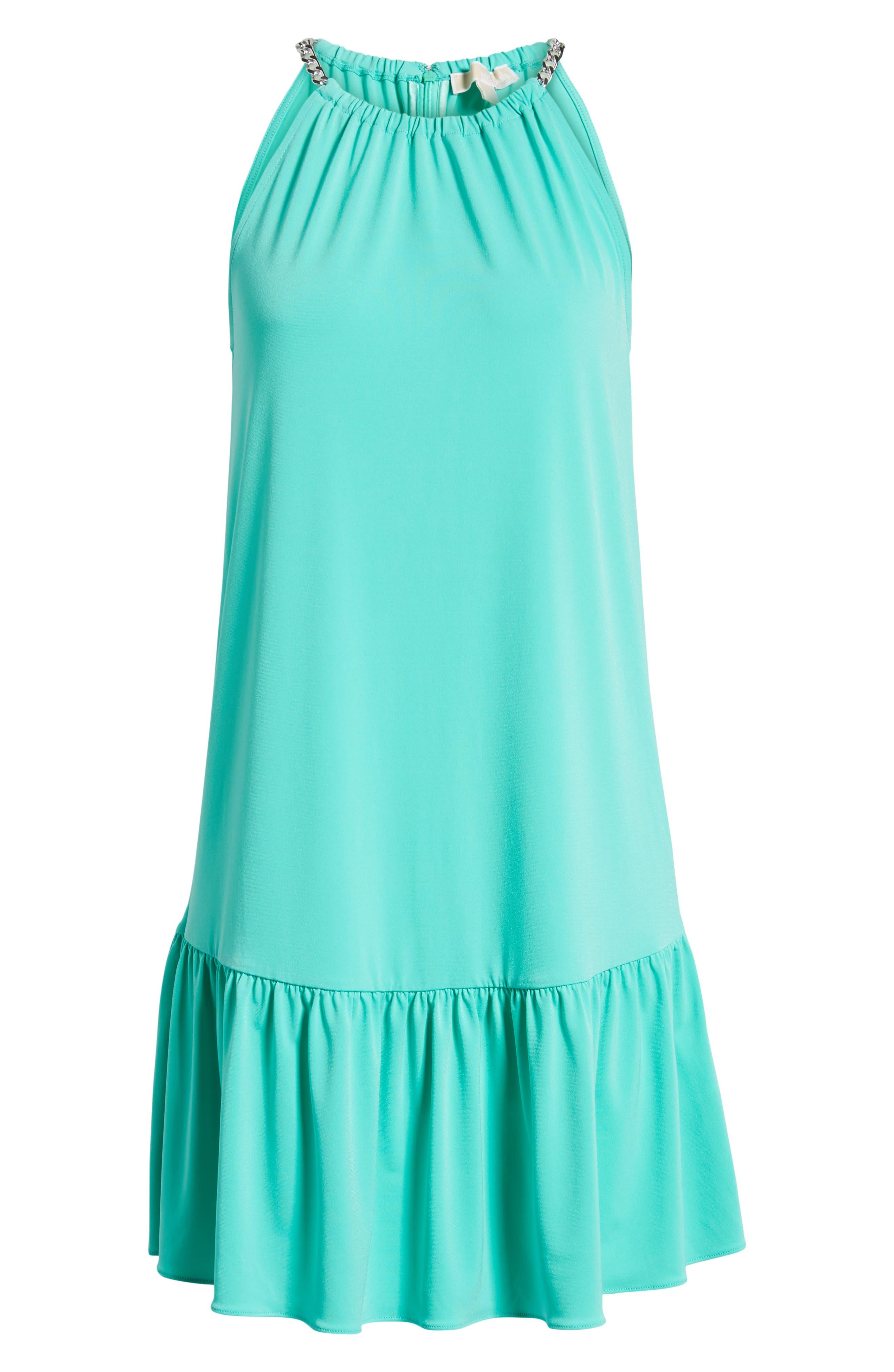 Chain Detail Halter Dress,                             Alternate thumbnail 7, color,                             Aqua