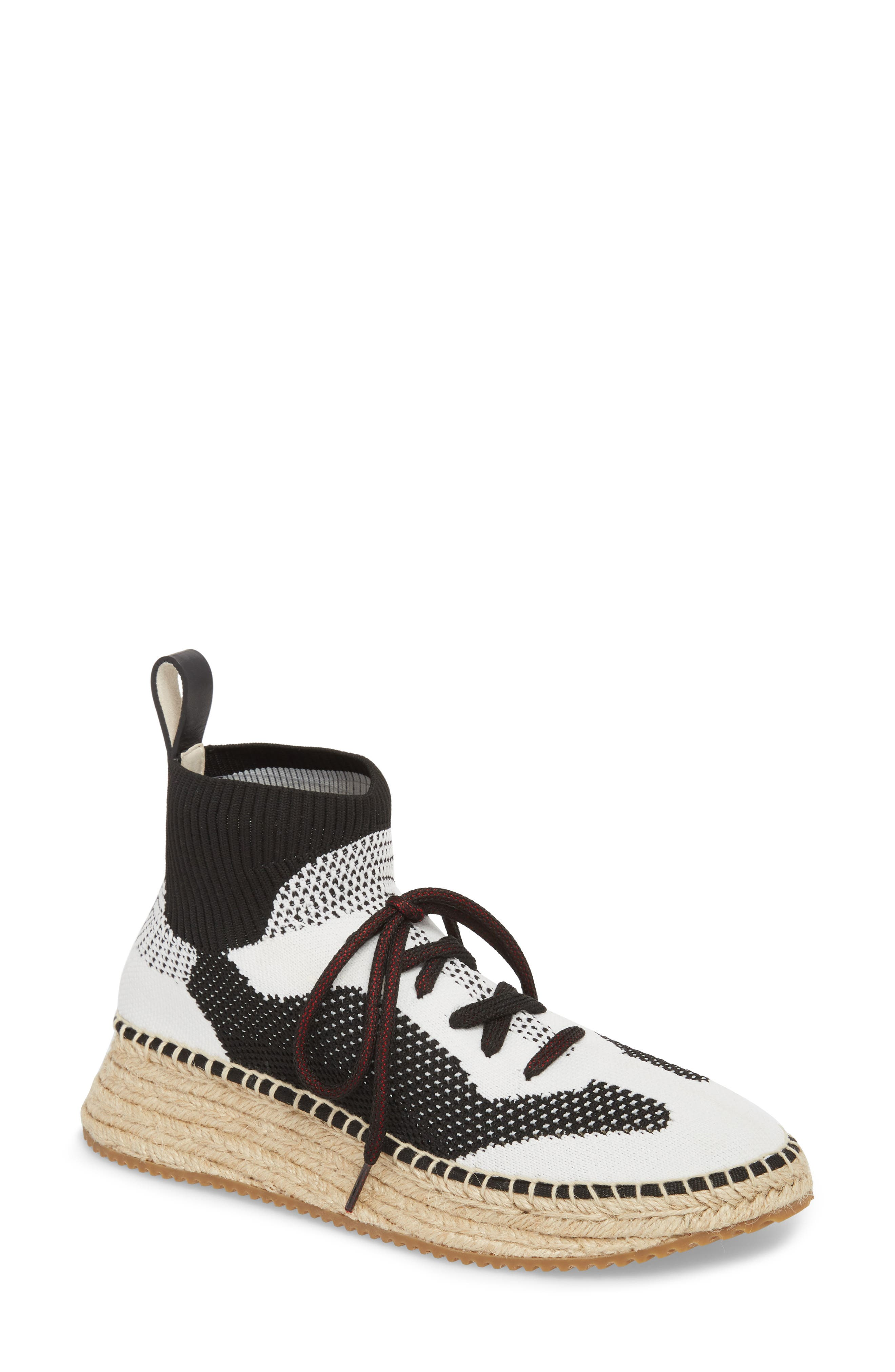 Dakota Espadrille Sock Sneaker,                         Main,                         color, Black/ White/ Grey