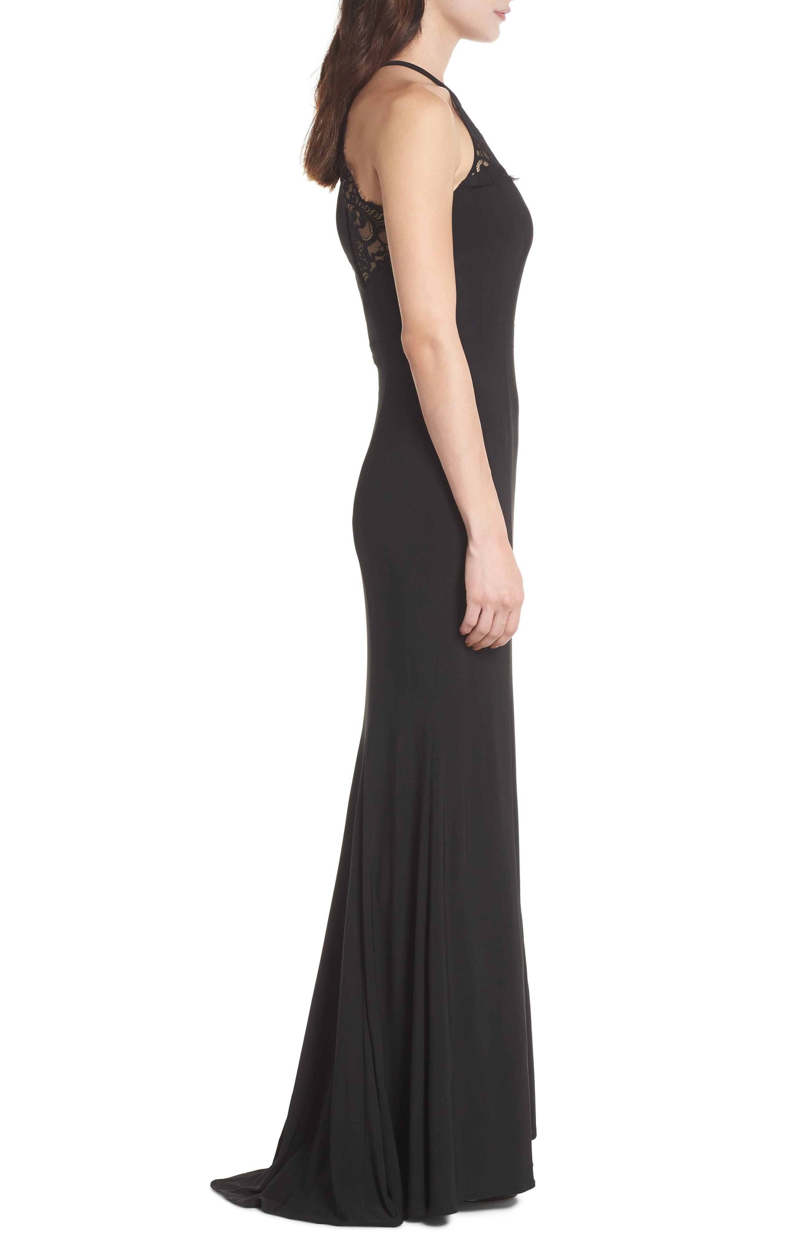 Lace Neck Halter Gown,                             Alternate thumbnail 3, color,                             Black