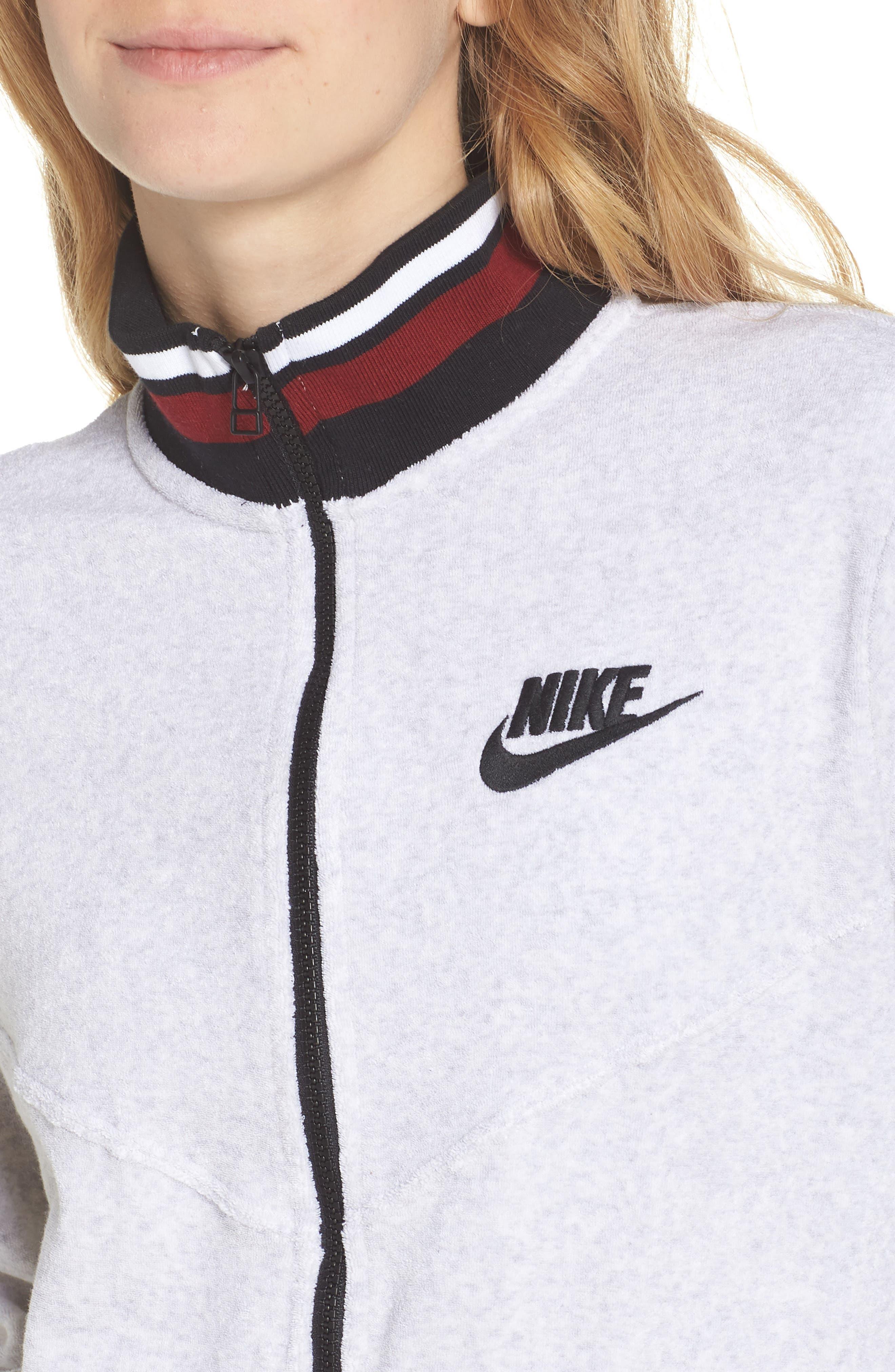 Sportswear French Terry Jacket,                             Alternate thumbnail 4, color,                             Birch Heather/ White/ Black