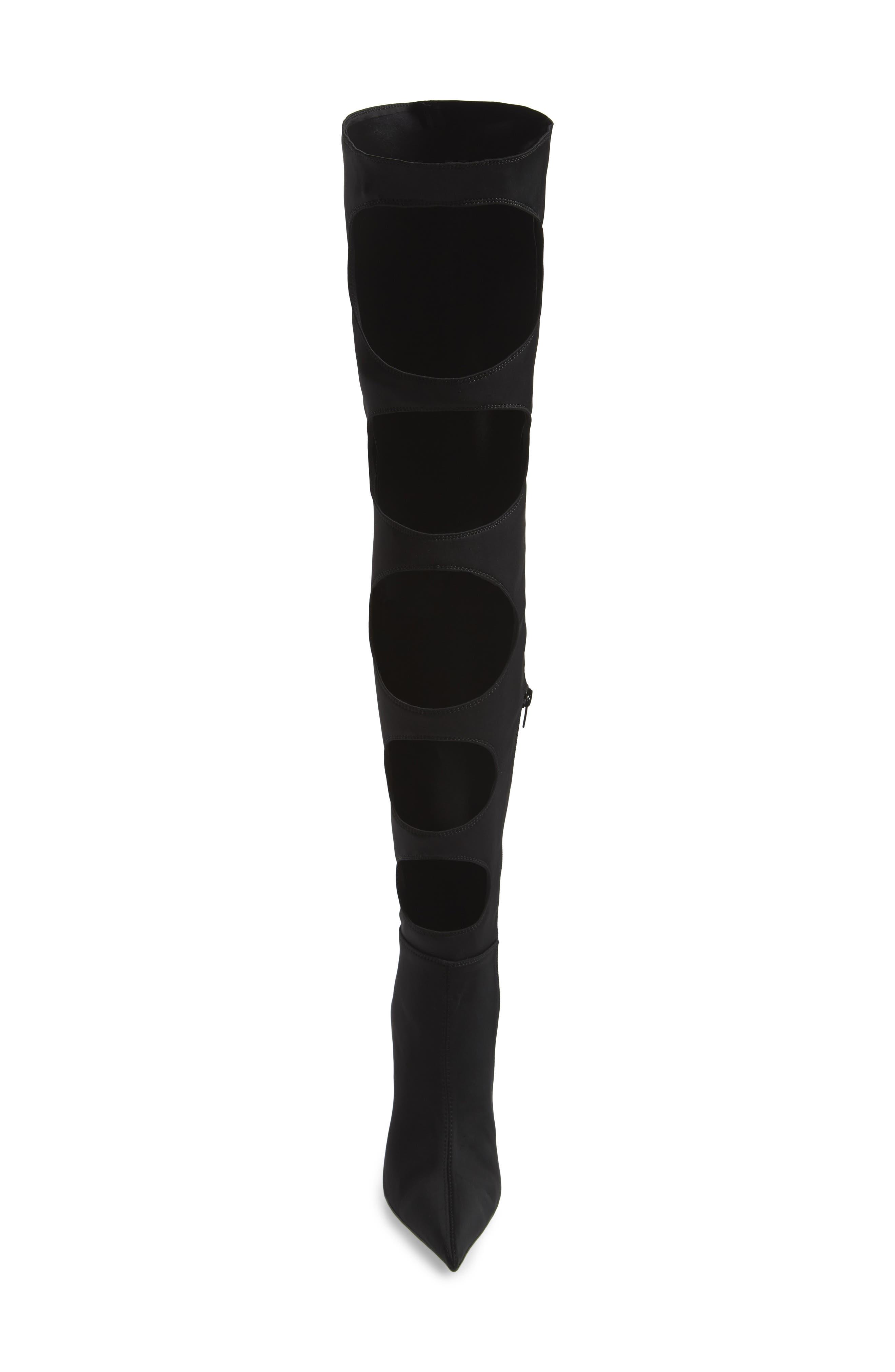 Gamora Over the Knee Boot,                             Alternate thumbnail 4, color,                             Black/ Black