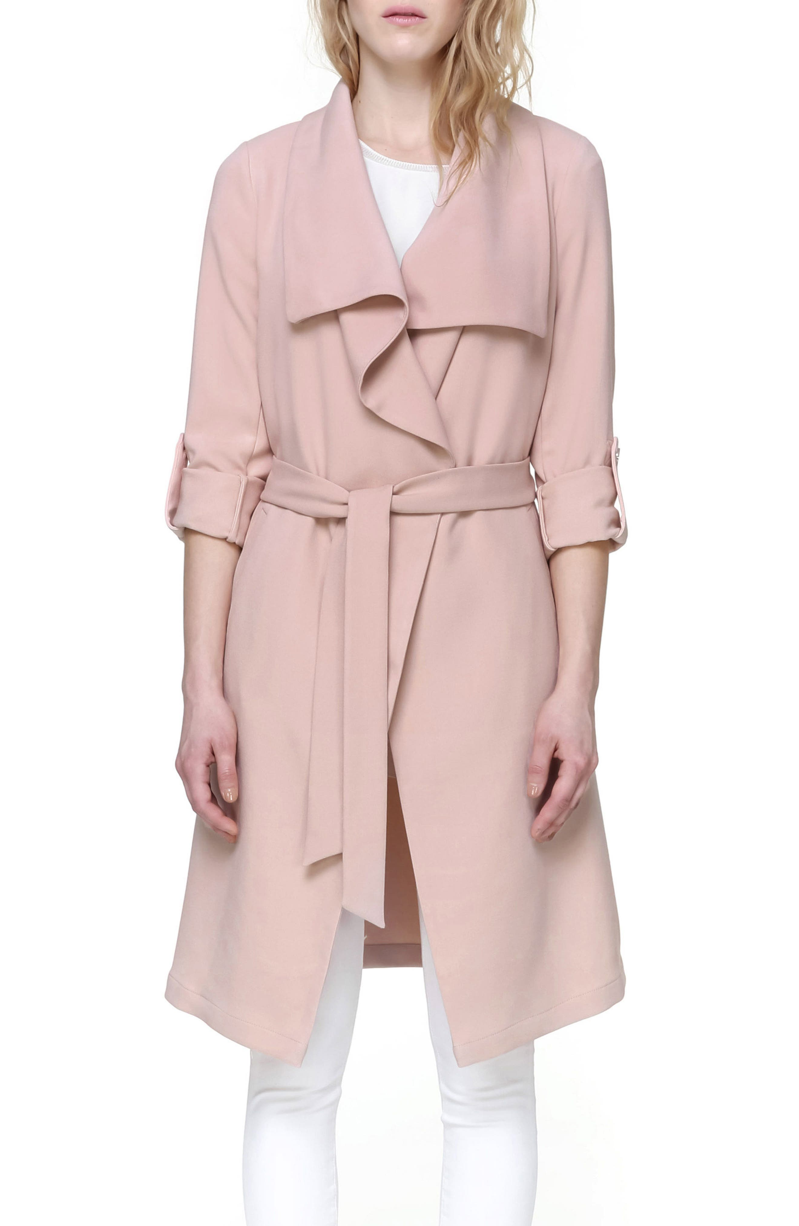 Roll Sleeve Drape Front Long Trench Coat,                         Main,                         color, Blush