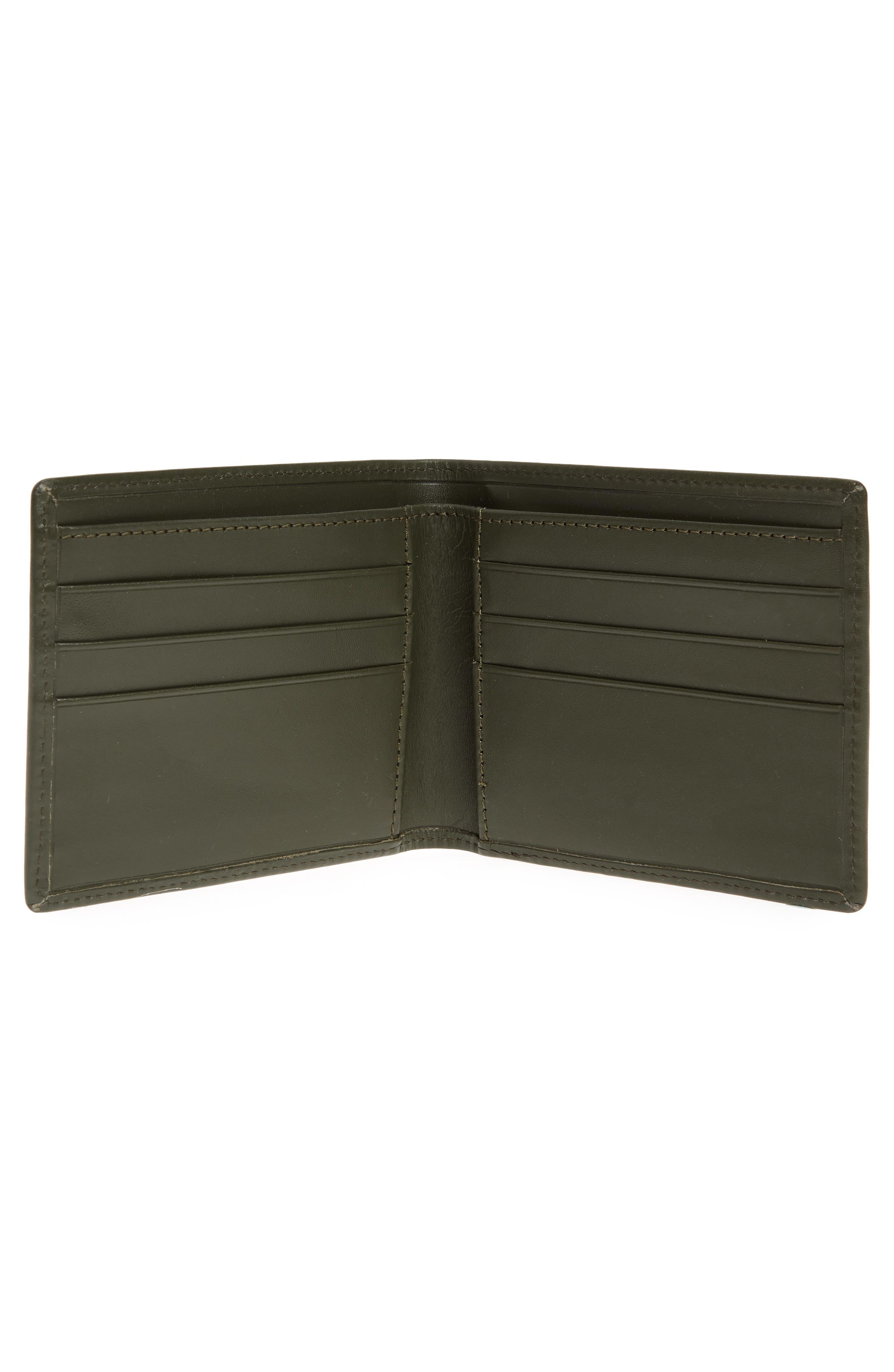 Aly Bifold Leather Wallet,                             Alternate thumbnail 2, color,                             Khaki