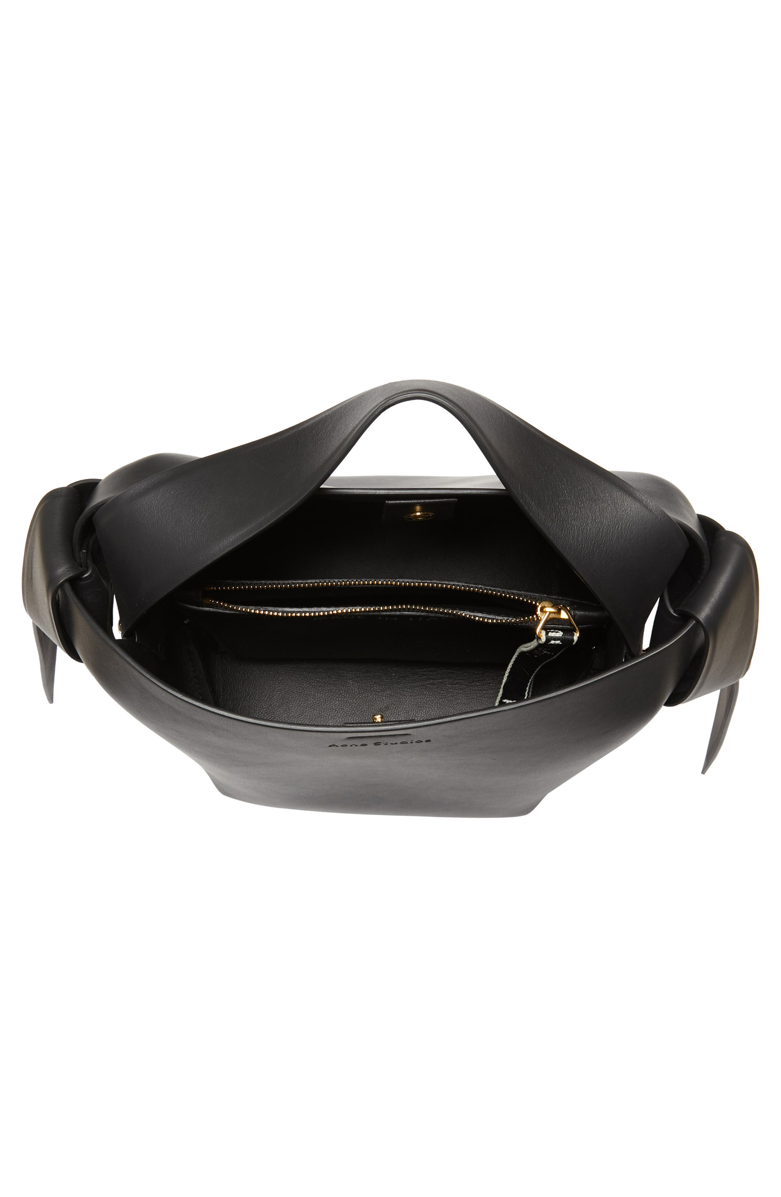 Musubi Leather Mini Bag,                             Alternate thumbnail 4, color,                             Black