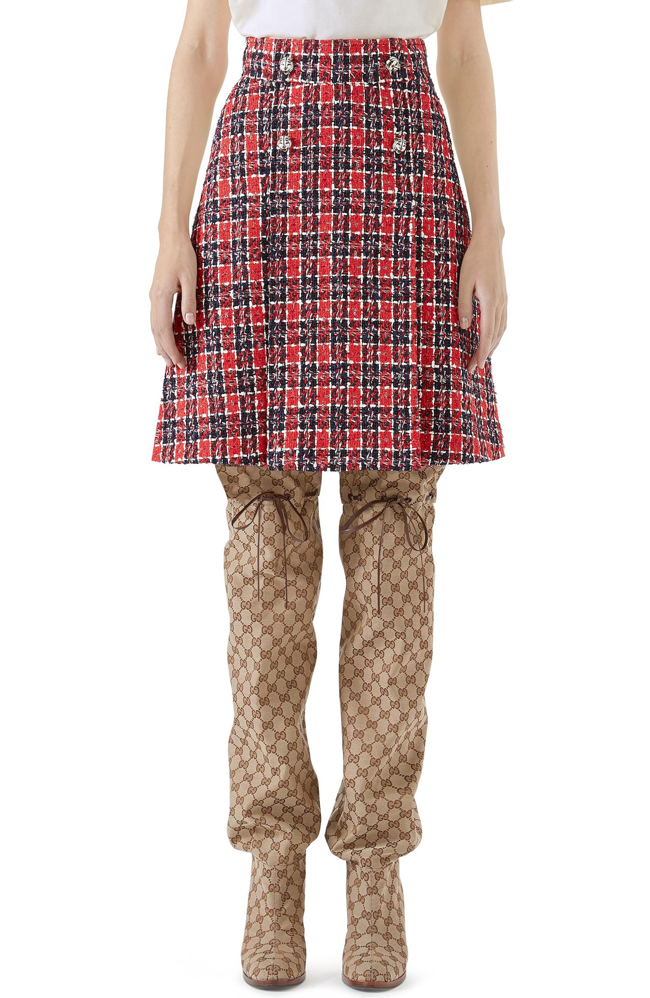 Gucci Tiger Button Tweed A-Line Skirt