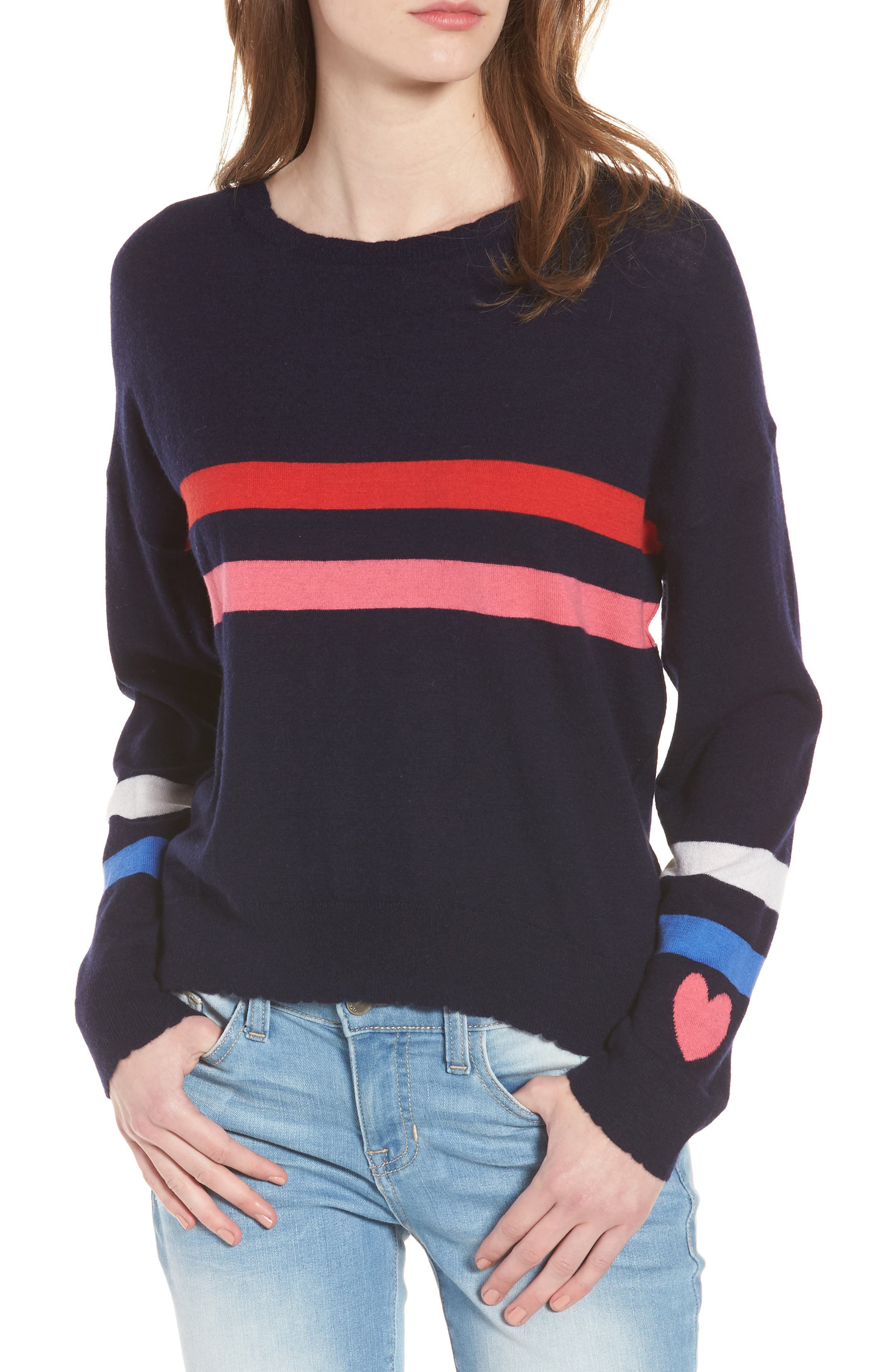 Stripe Wool & Cashmere Sweater,                             Main thumbnail 1, color,                             Navy