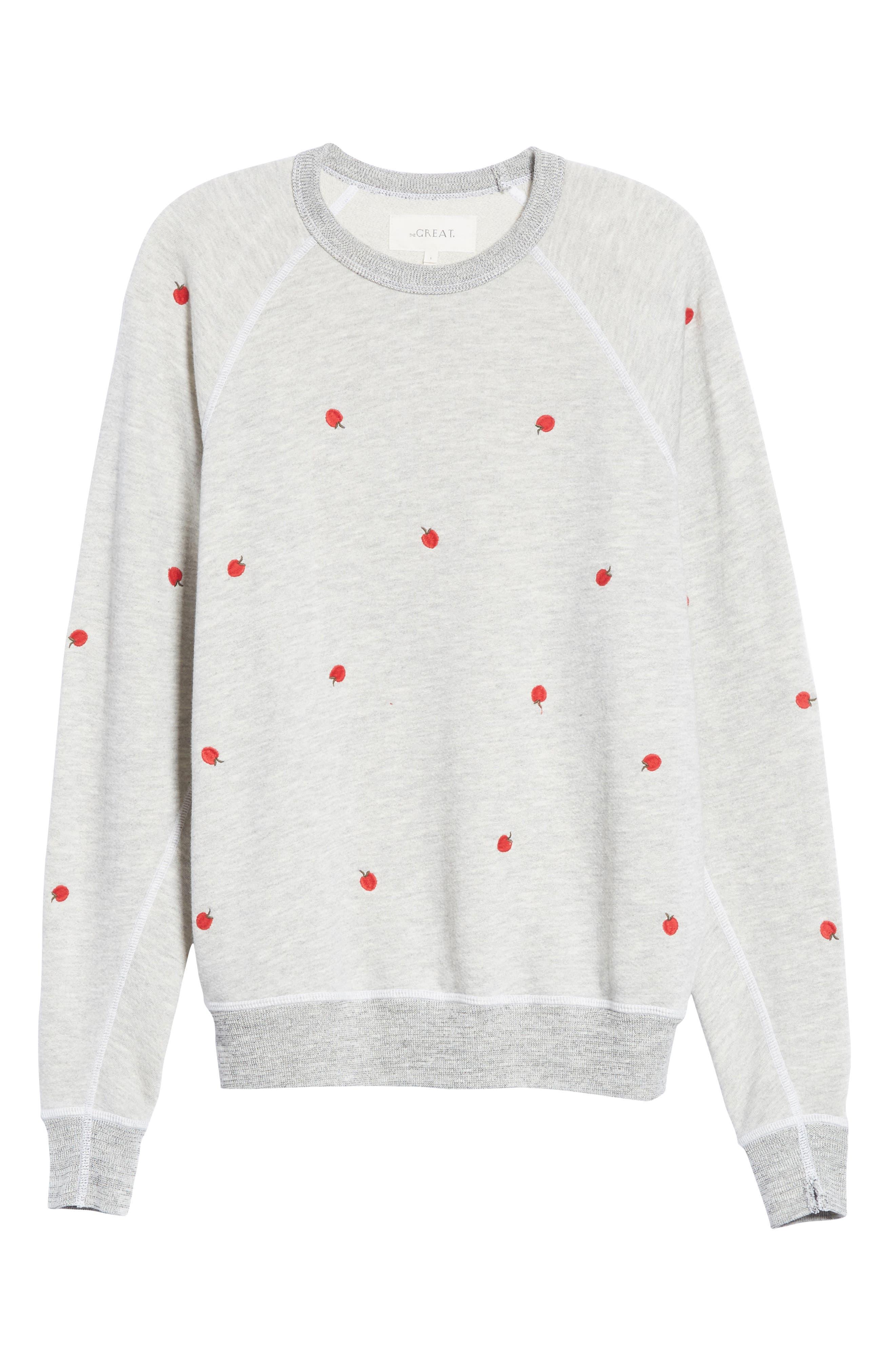 College Sweatshirt,                             Alternate thumbnail 5, color,                             Light Heather Grey/ Red Apples