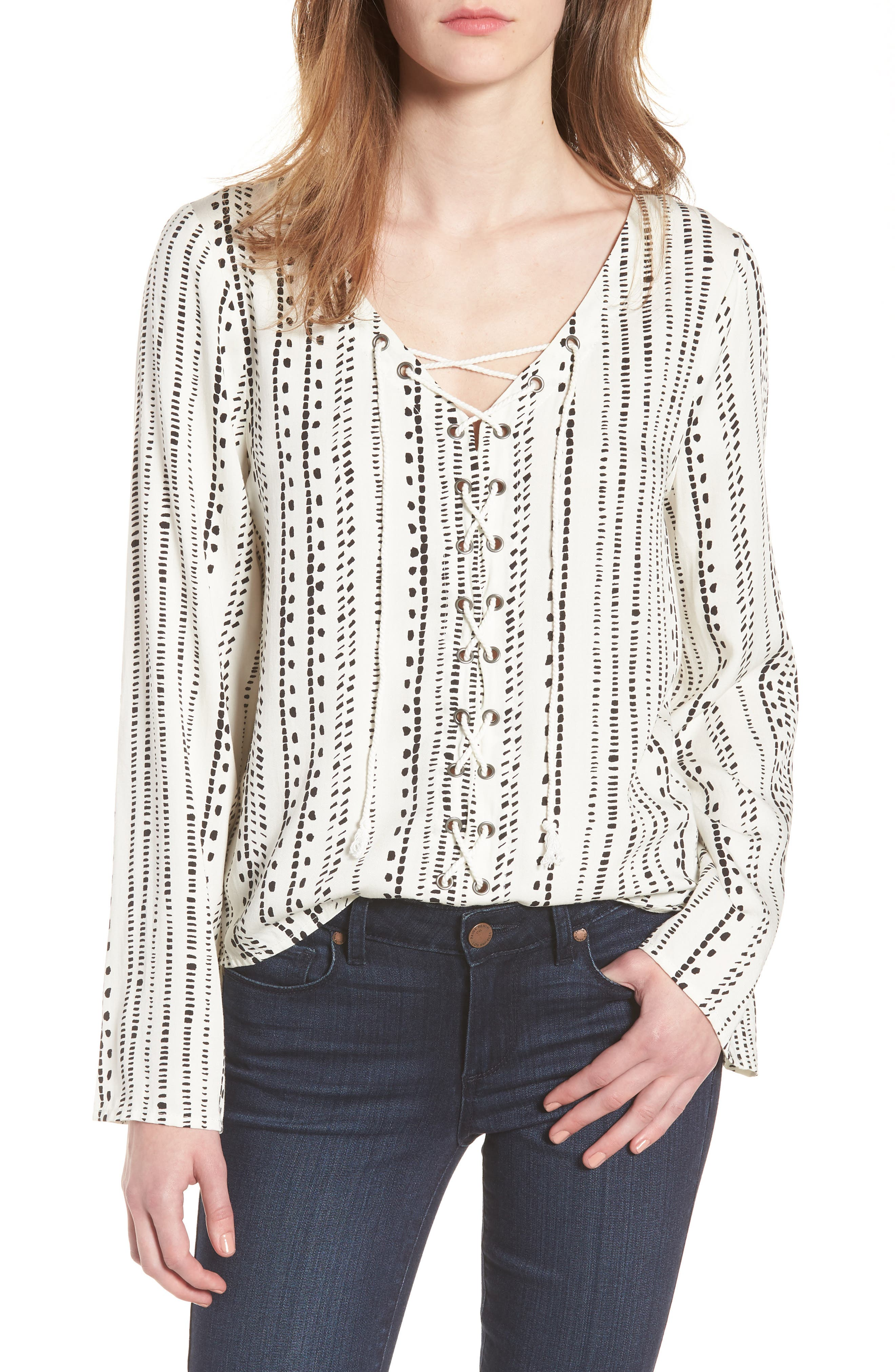 Alexis Lace-Up Top,                         Main,                         color, Ivory